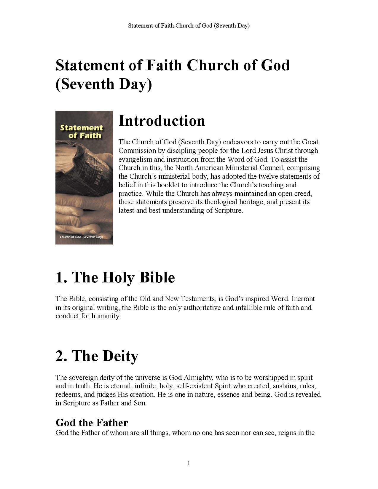 Statement of Faith Church of God (Seventh day) by Church of
