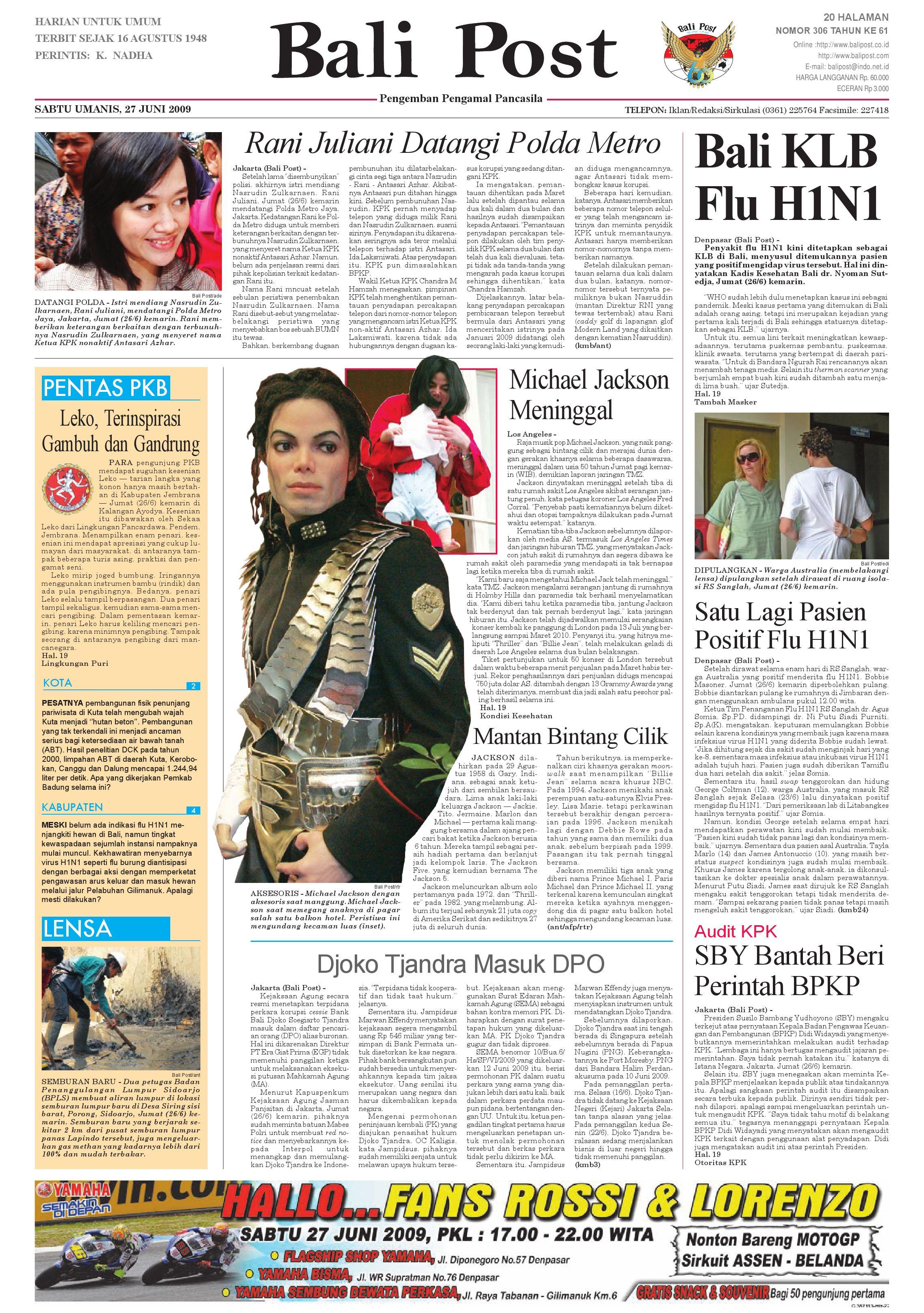 Bali Post Sabtu 27 Juni 2009 By E Paper Kmb Issuu Rkb Bni Tegal Kranjang Buah Nur Fashion And Art