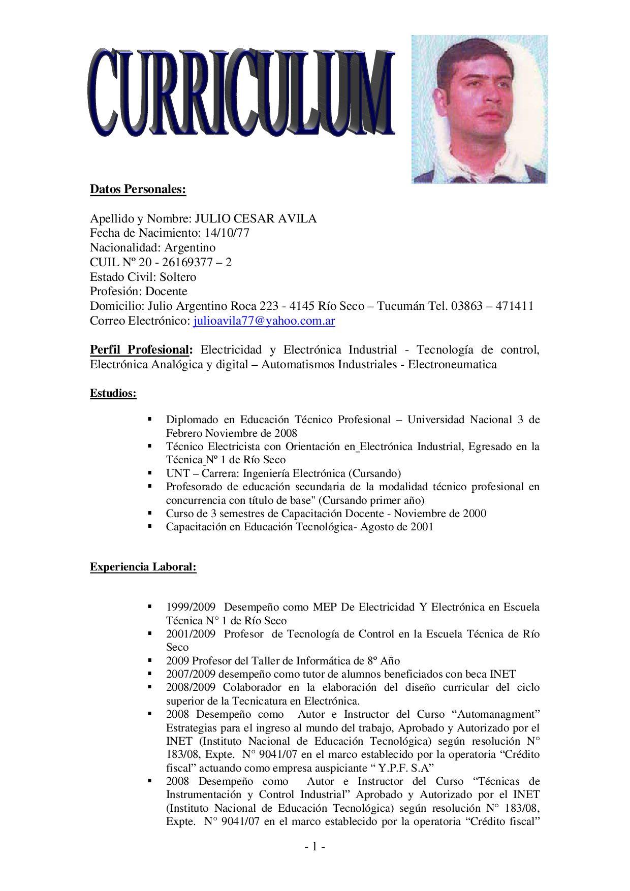 Dorable Curriculum Vitae Para El Técnico De Mantenimiento Industrial ...