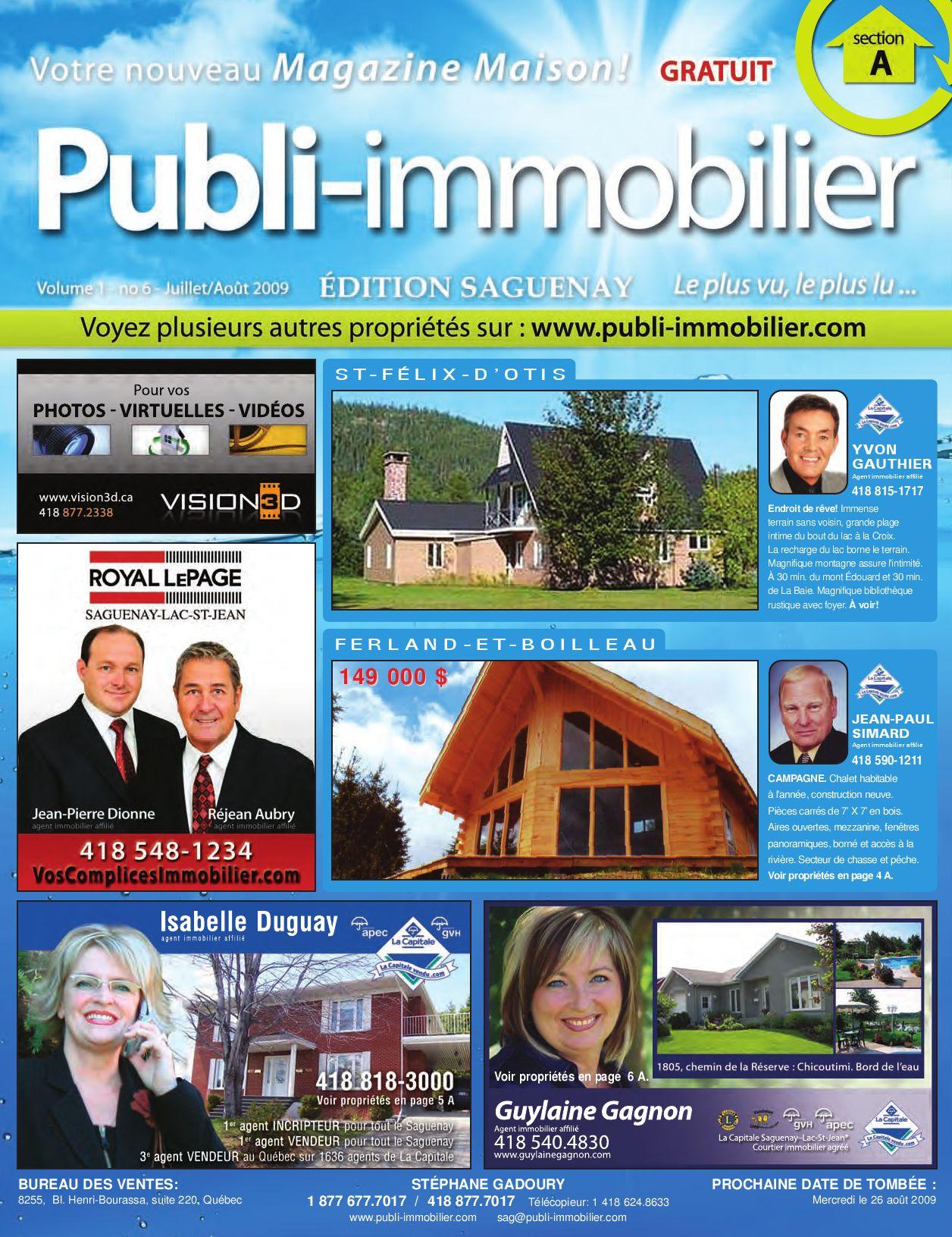 Publi-Immobilier - SAGUENAY - Volume 1 - no 6 - JUILLET/AOÛT