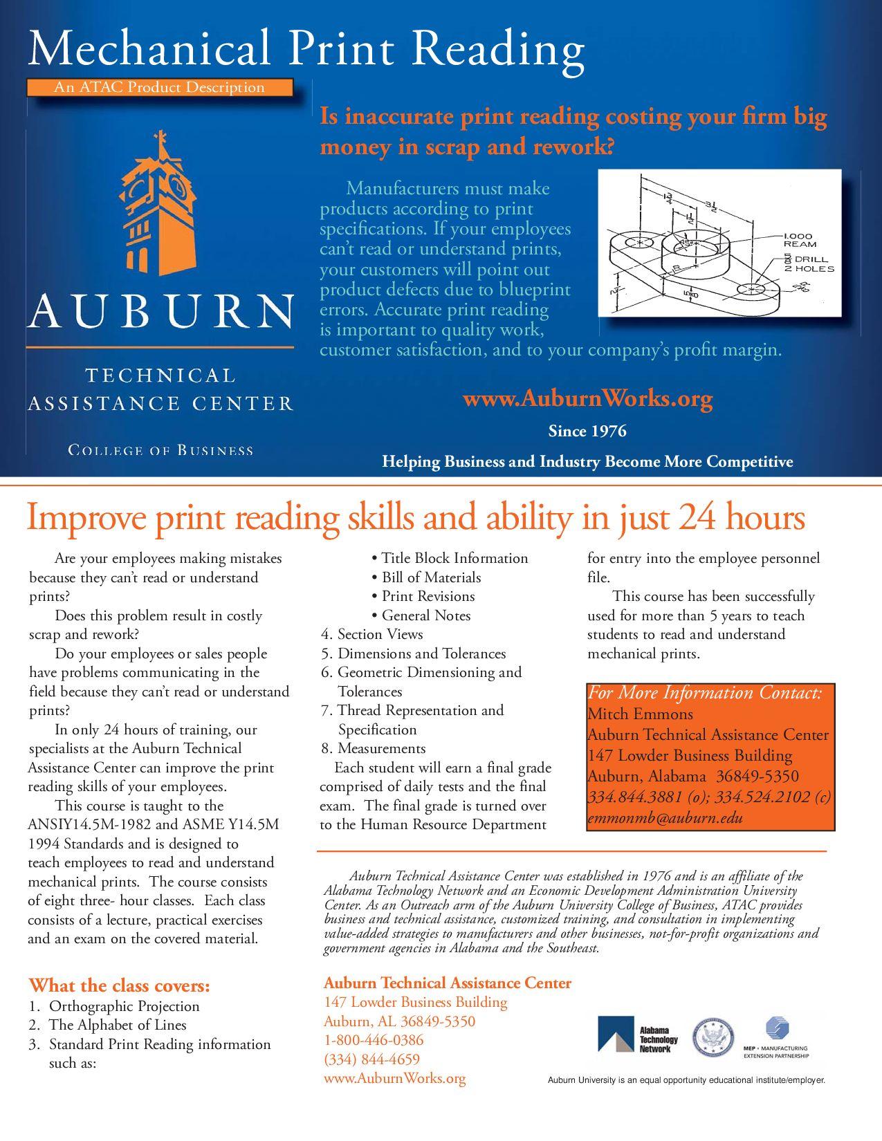 Print Reading Product Sheet By Auburn Works Auburn Technical