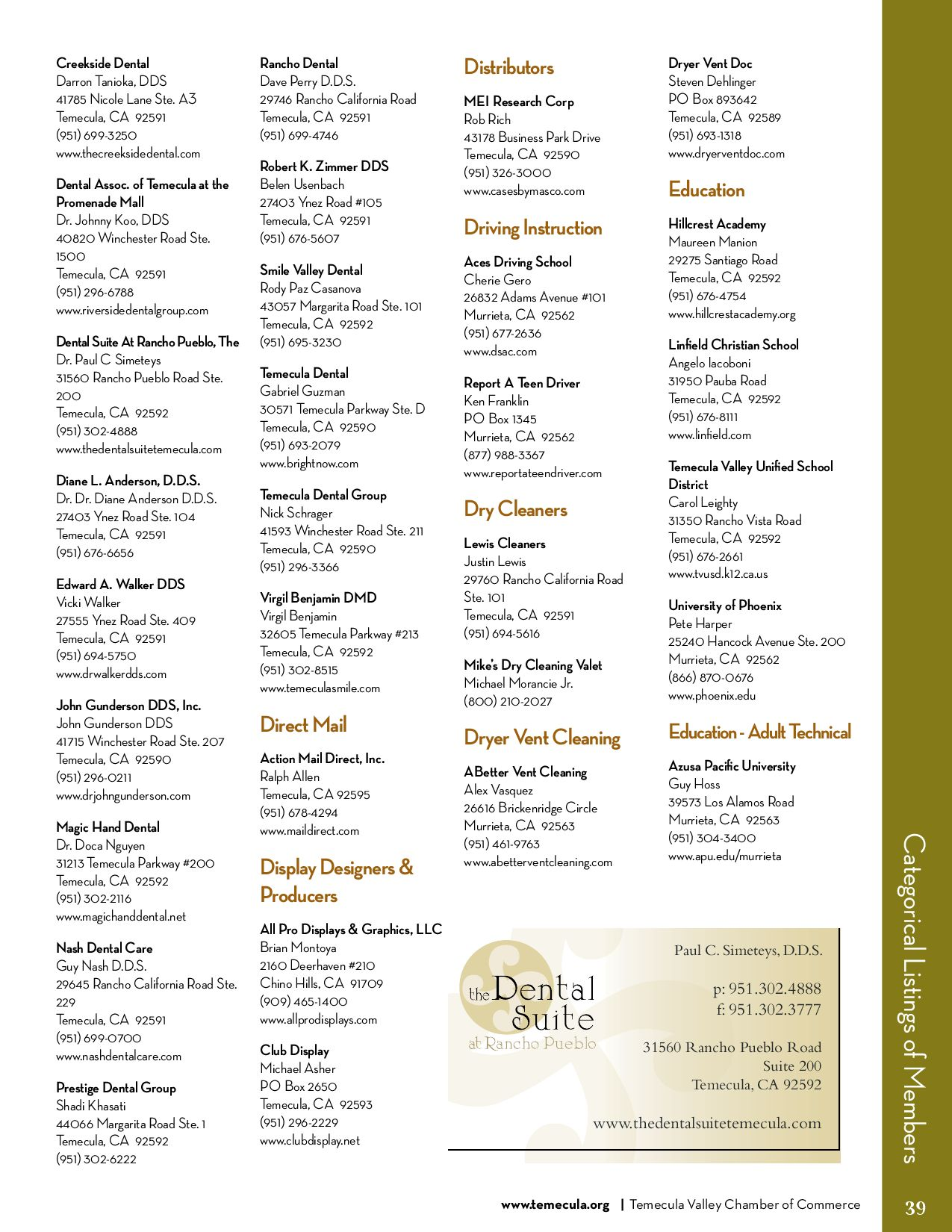 Temecula Valley Chamber Of Commerce Business Resource Guide By