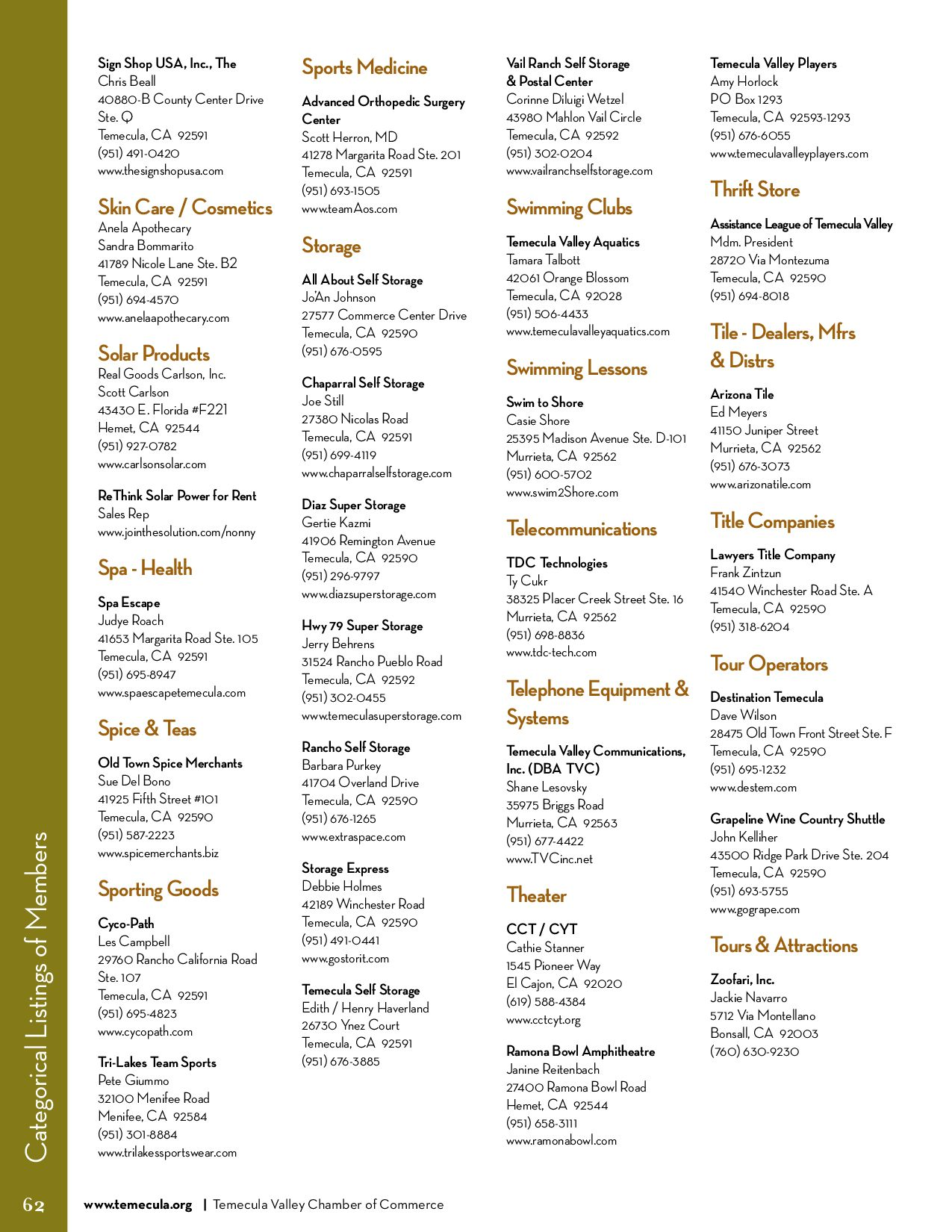 Temecula Valley Chamber of Commerce Business Resource Guide