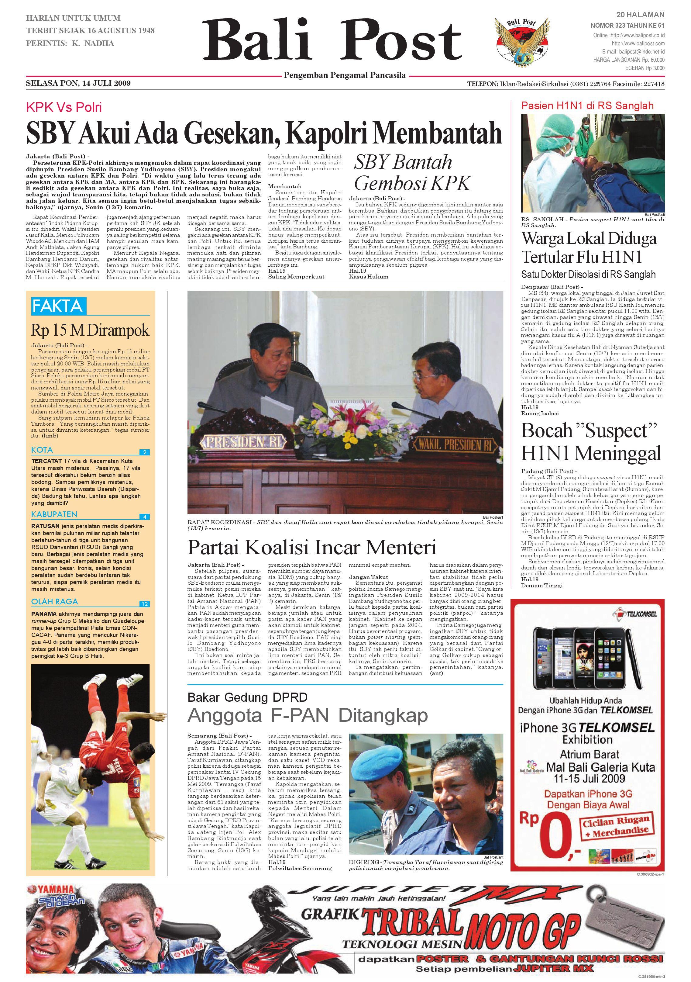 Bali Post Selasa 14 Juli 2009 By E Paper Kmb Issuu Lg Kulkas Inverter Gn M572hphl 178cm Putih Bunga Khusus Jabodetabek