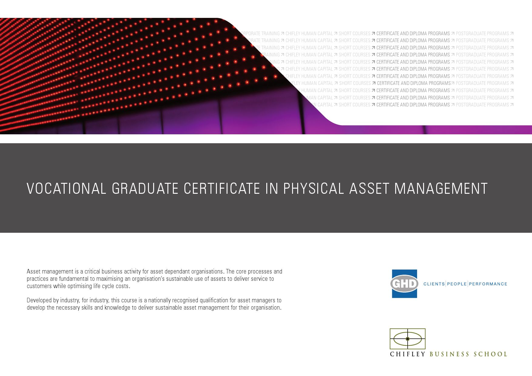 Vocational Graduate Certificate In Physical Asset Management