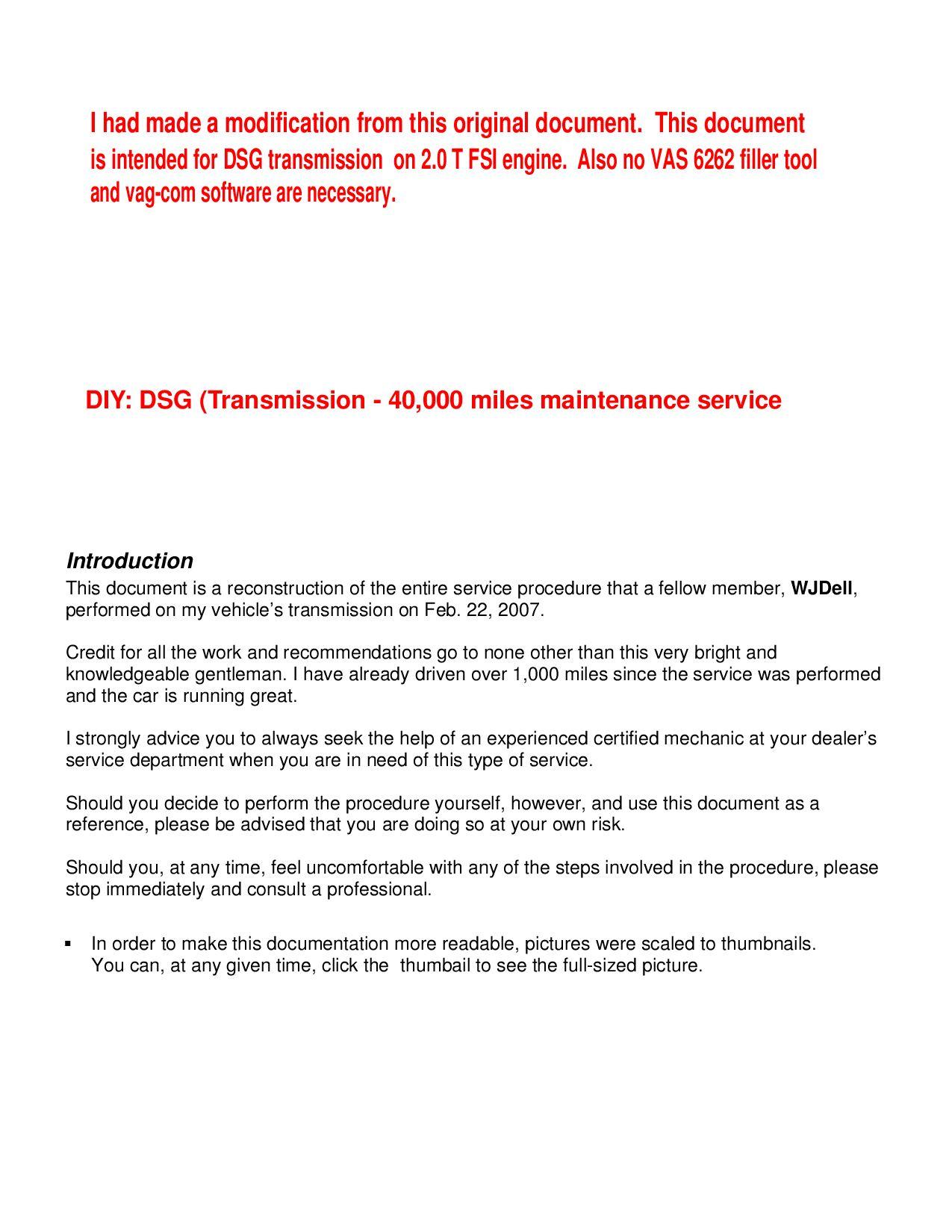 DIY: DSG (Transmission - 40,000 miles maintenance service by