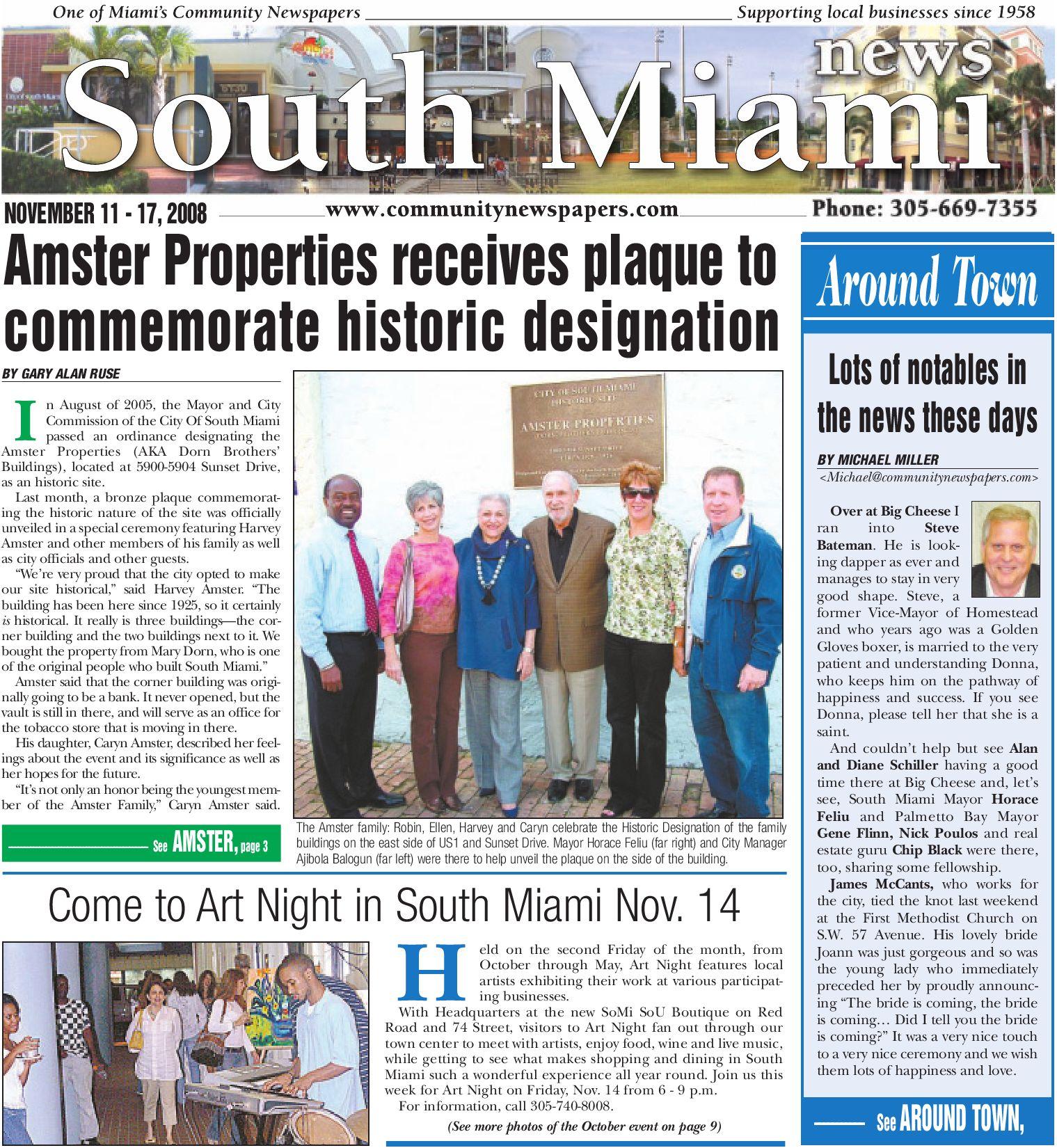 South Miami News November 11 2008 Edition Local Community
