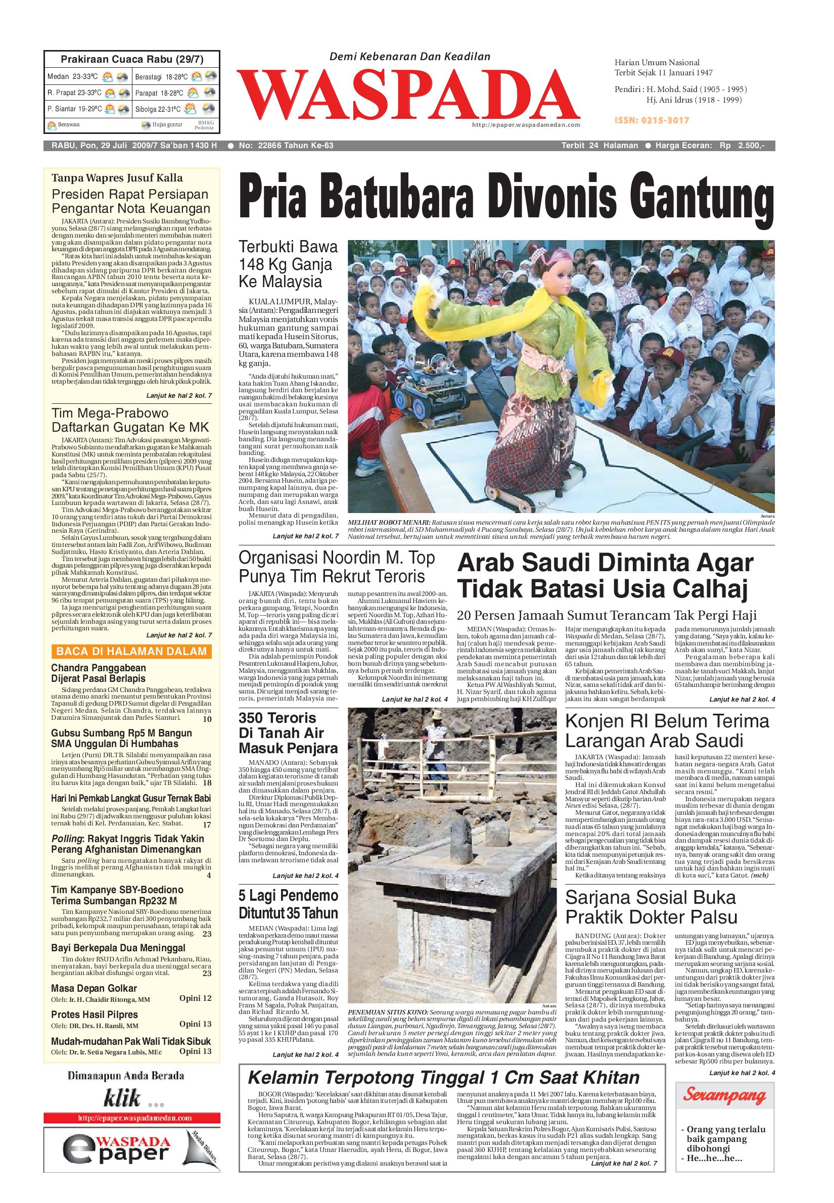 Waspada Rabu 29 Juli 2009 By Harian Issuu Tcash Vaganza 39 Bantal Mobil 3 In 1 Juventus Aksesoris