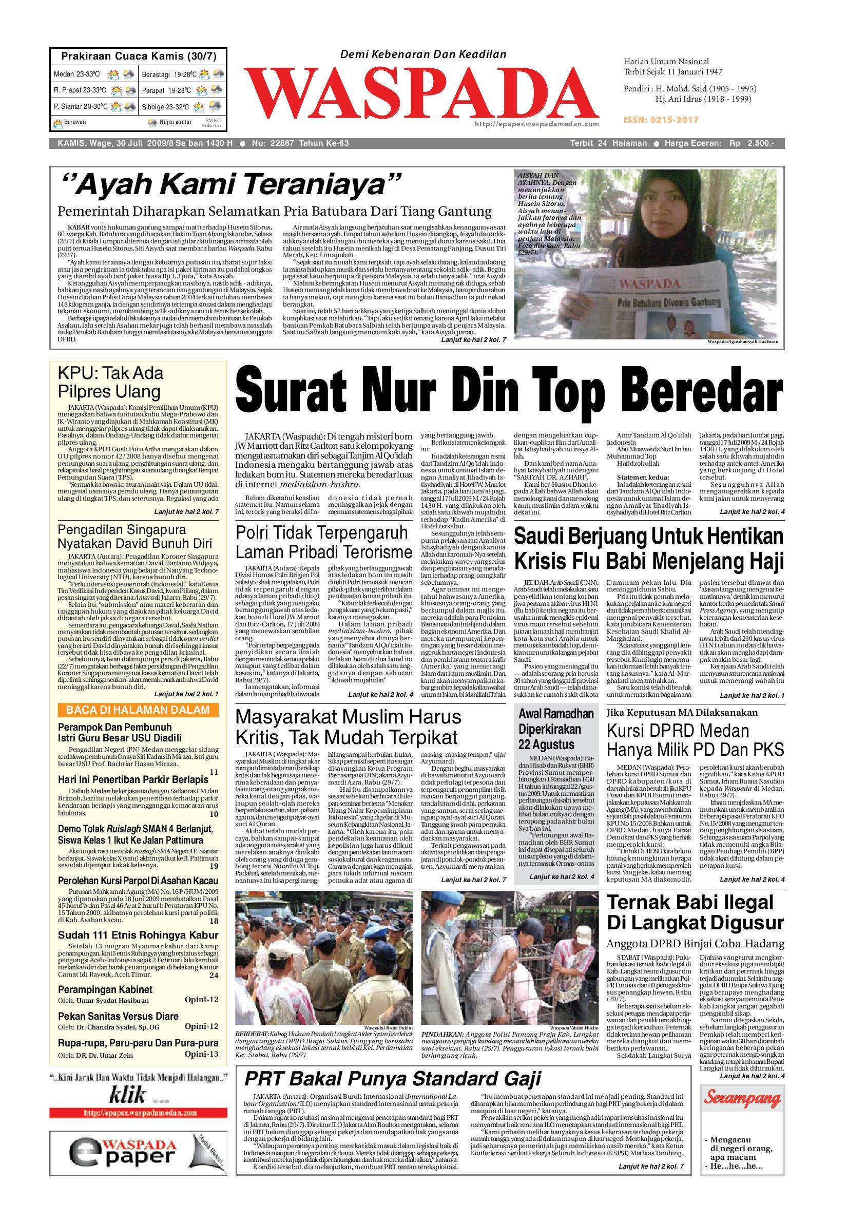 Waspada Kamis 30 Juli 2009 By Harian Issuu Charger Warna Warni Merk Hasan Sj0048