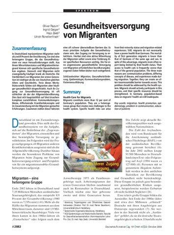Gesundheitsversorgung von Migranten by Ingrid Katharina Geiger - issuu