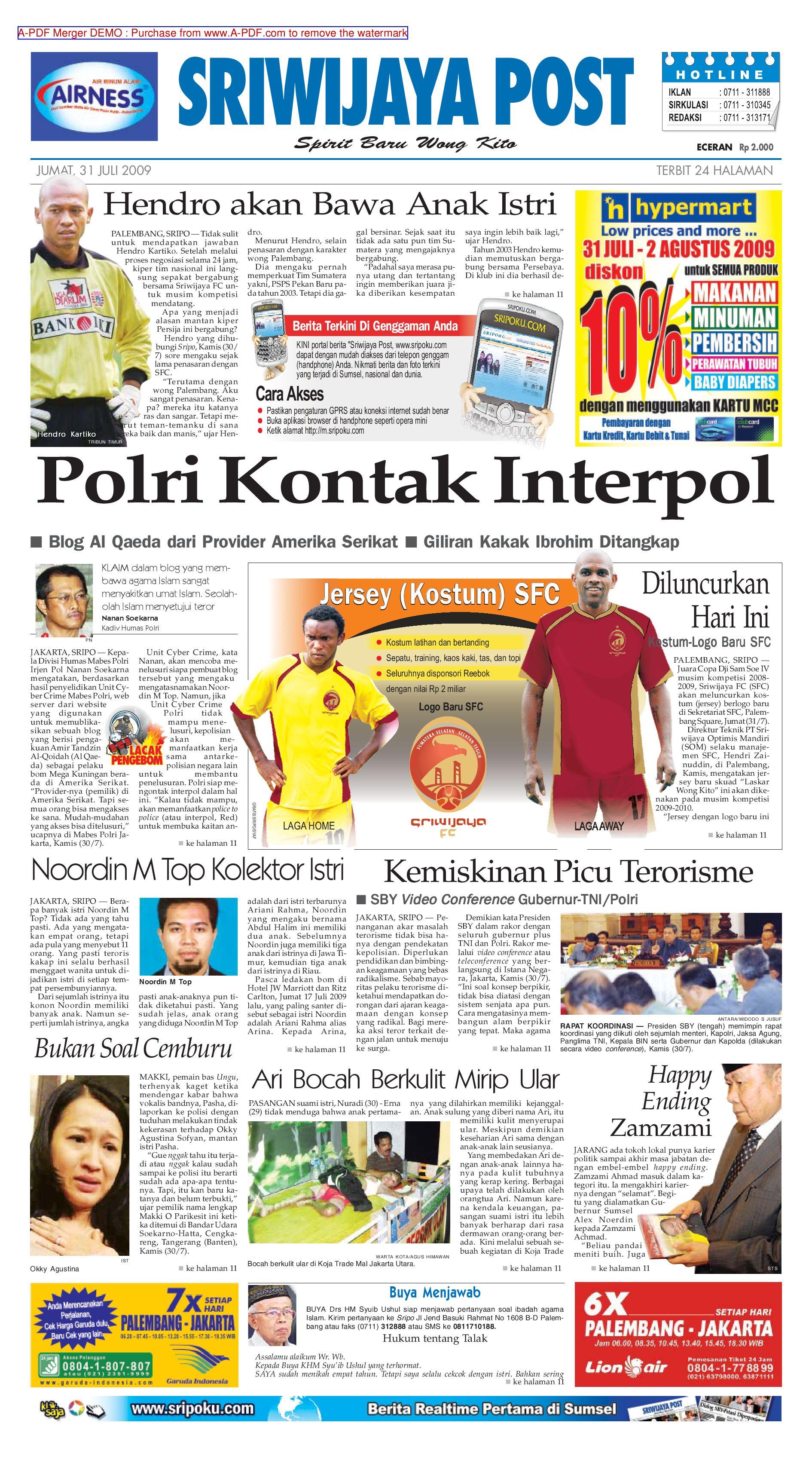 Sriwijaya Post Edisi Jumat 31 Juli 2009 By Yulius Saputra Issuu Rejeki Anak Soleh 3 Voucher Carrefour Rp 200000
