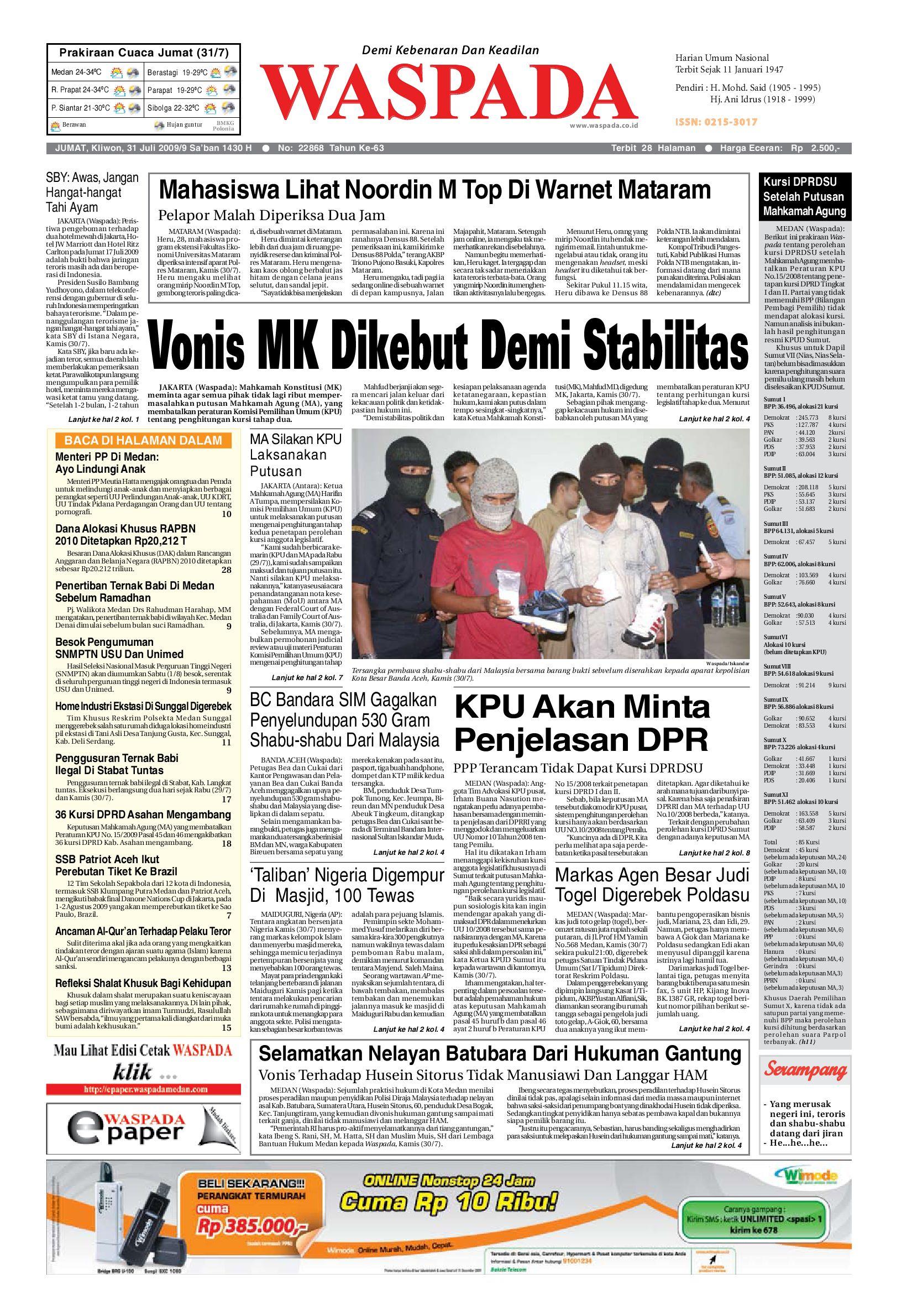 waspada sabtu 23 juli 2010 by harian waspada issuu