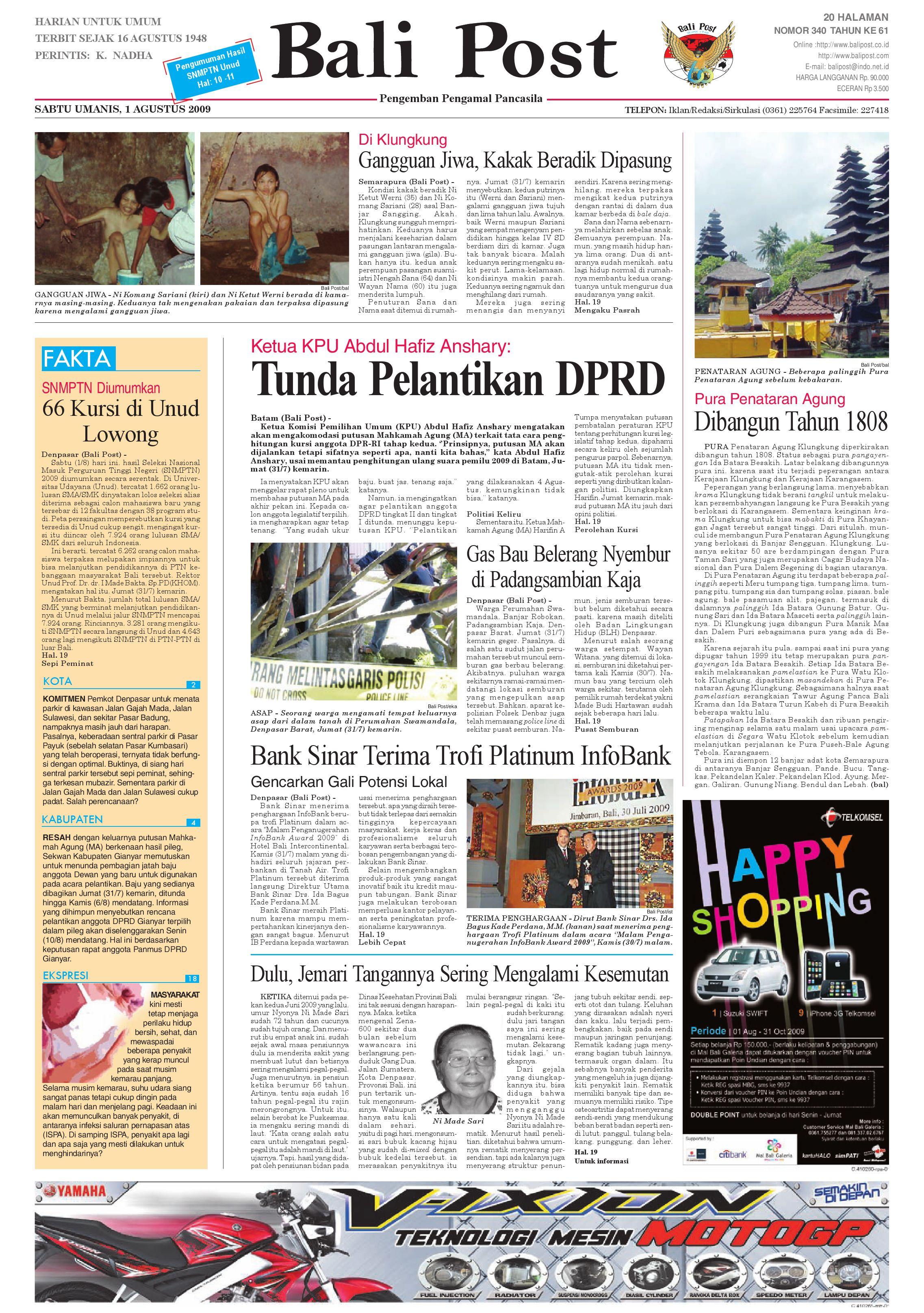 Bali Post Sabtu 01082009 By E Paper Kmb Issuu Voucher 300 Plus Tiara Gatzu Monang Maning Toko Soputan