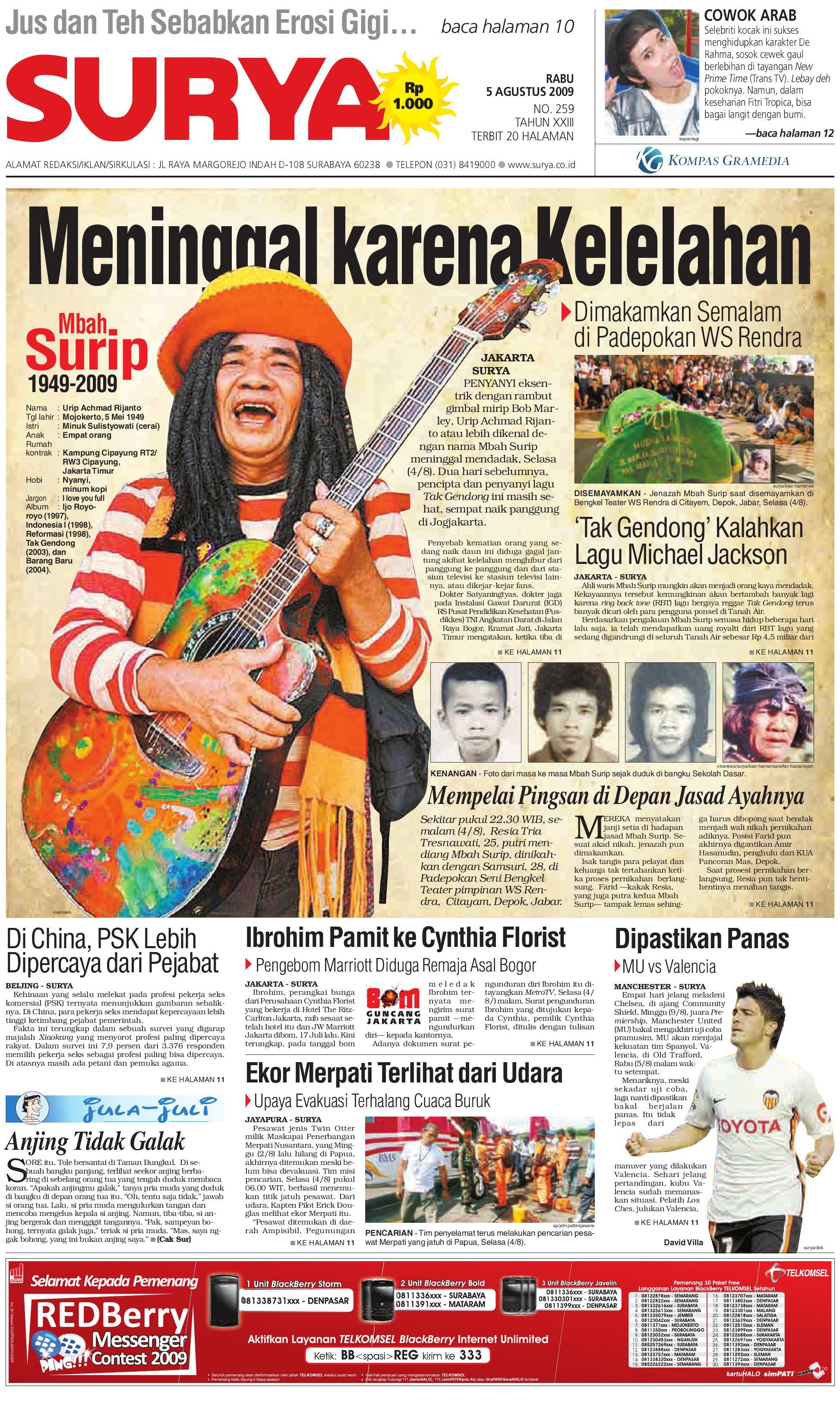 Surya Edisi Cetak 05 Agt 2009 By Harian SURYA Issuu