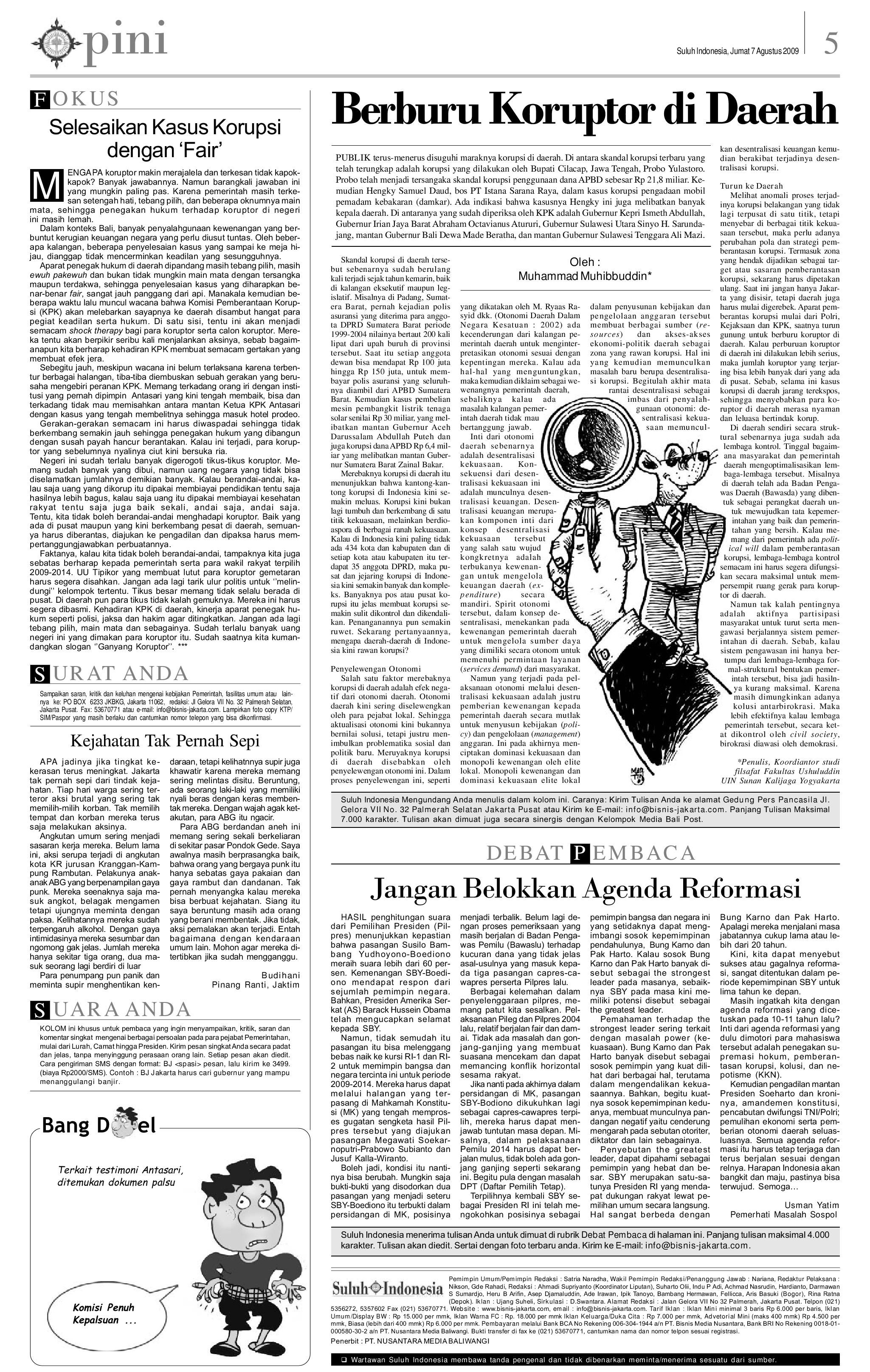 Edisi 07 Agustus 2009 Suluh Indonesia By E Paper Kmb Issuu