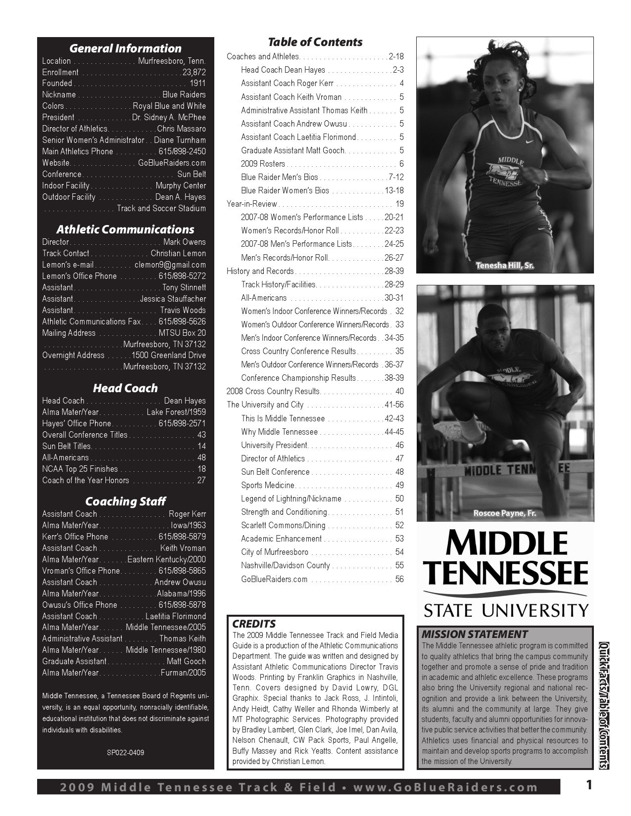 2009 Track and Field Media Guide by Middle Tennessee State ...