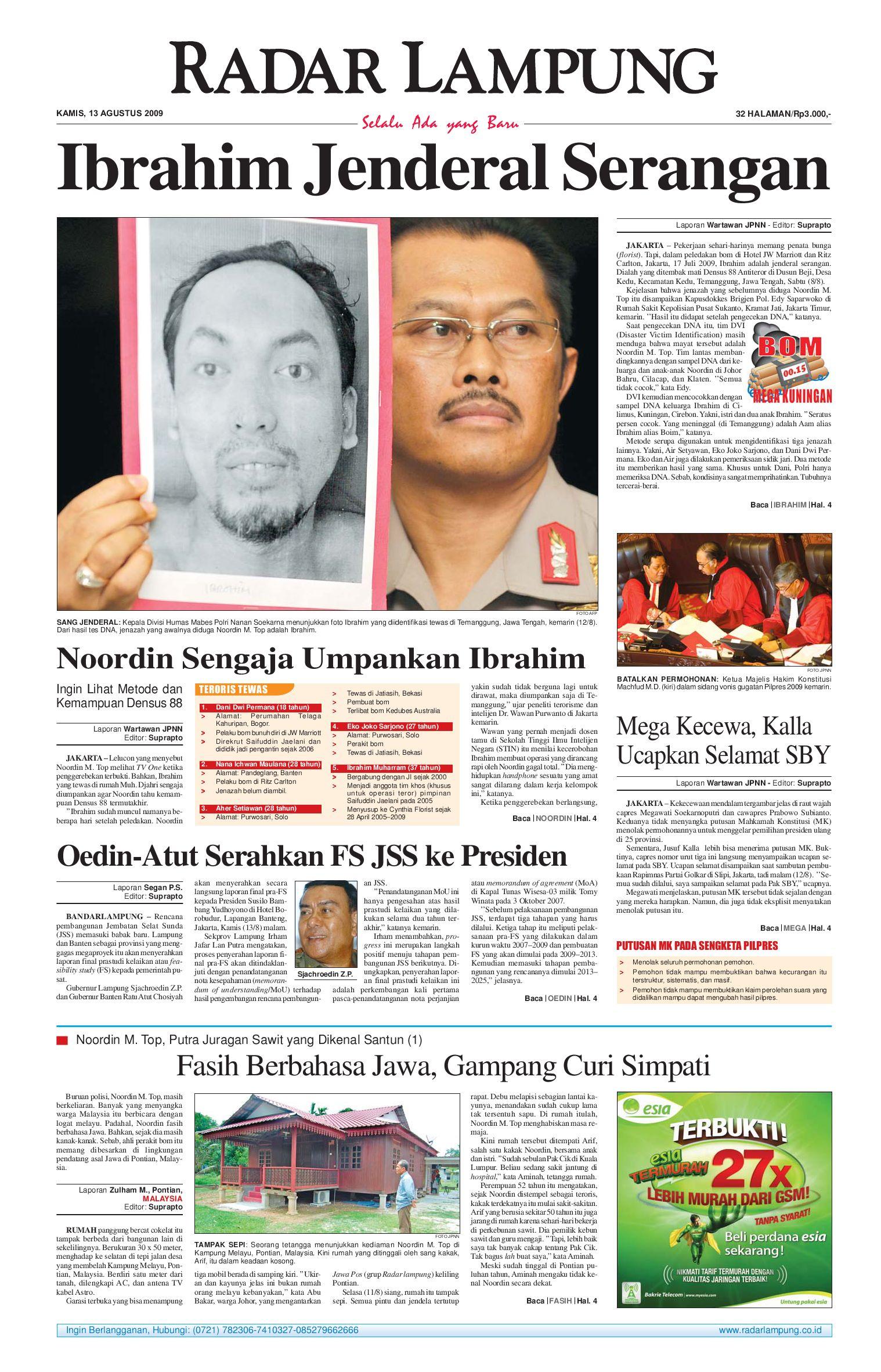 Radar Lampung Kamis 13 Agustus 2009 By Issuu Tcash Vaganza 34 Kripiss Medan Manis