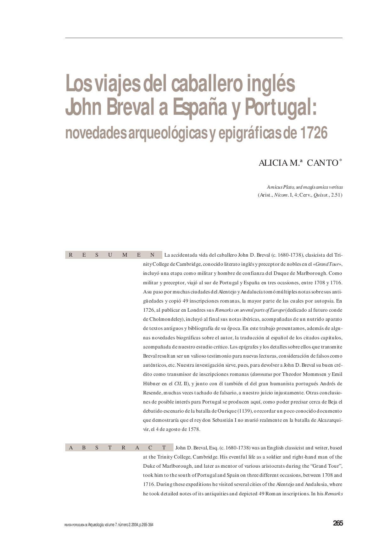 Los viajes del caballero inglés John Breval a España y Portugal by ...