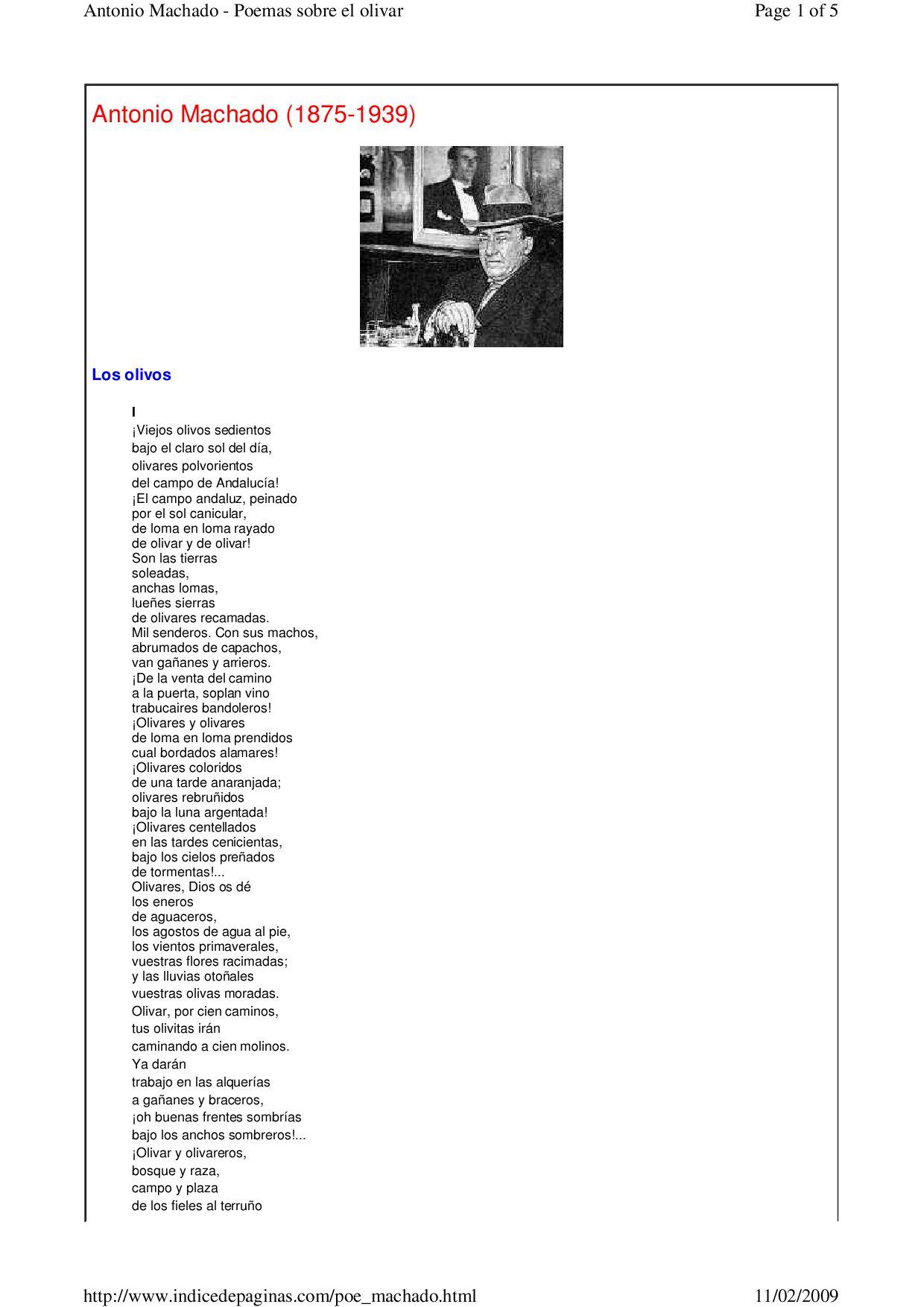 Poemas Sobre El Olivar A Machado By B Cartas Issuu