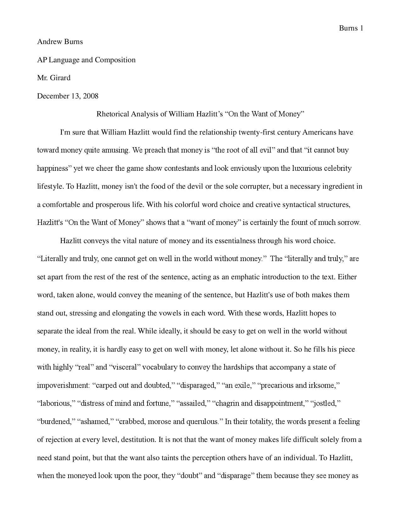 "rhetorical analysis of william hazlitt s ""on the want of money"" by  rhetorical analysis of william hazlitt s ""on the want of money"" by werdna snrub issuu"