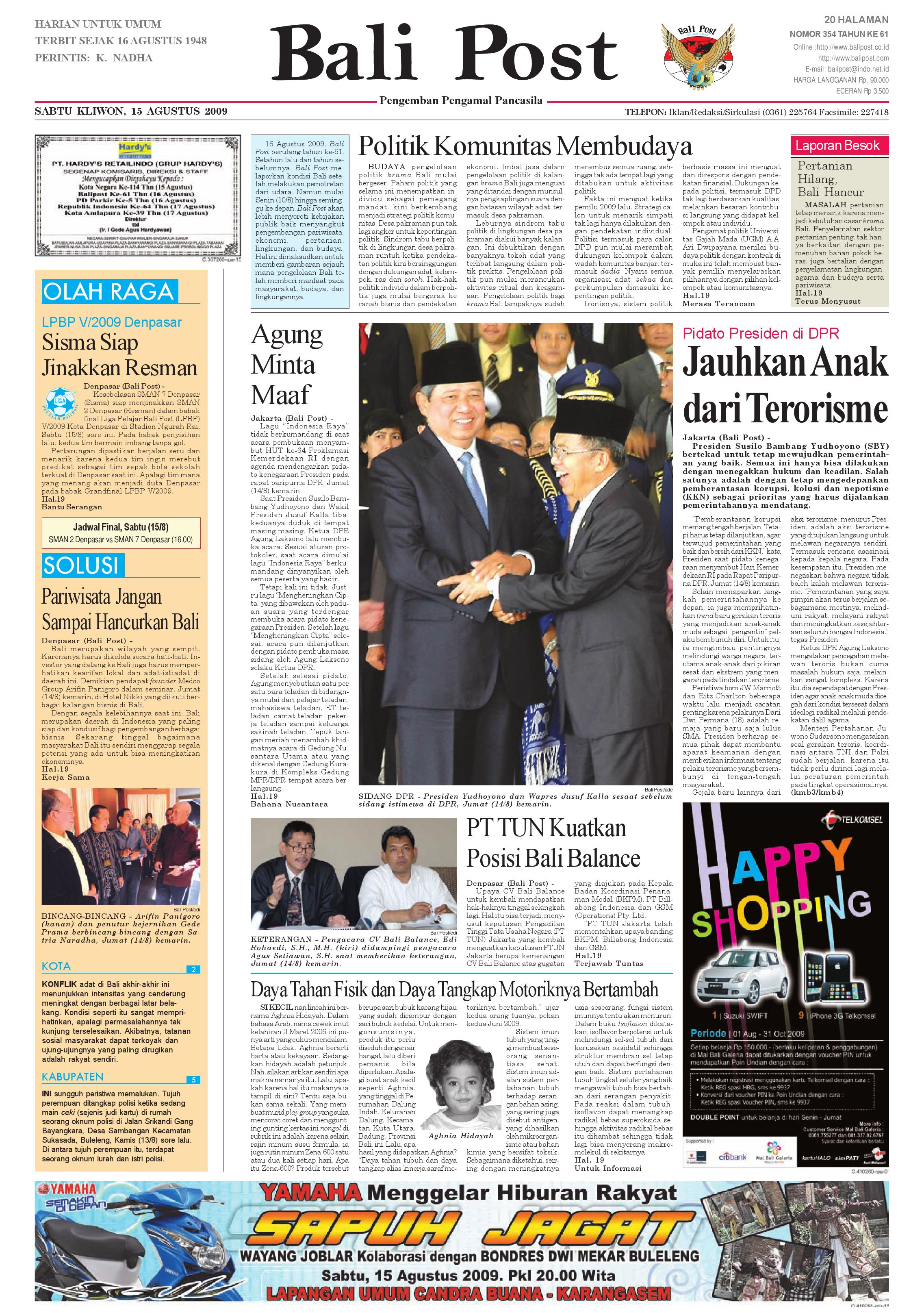 Bali Post Sabtu 15 Agustus 2009 By E Paper Kmb Issuu Parcel Makanan Pja 1606