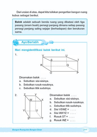 Kelas04ayo belajar matematikaburhan ary by s van selagan issuu balok adalah sebuah benda ruang yang dibatasi oleh tiga pasang enam buah persegi panjang dimana setiap pasang persegi panjang ccuart Image collections