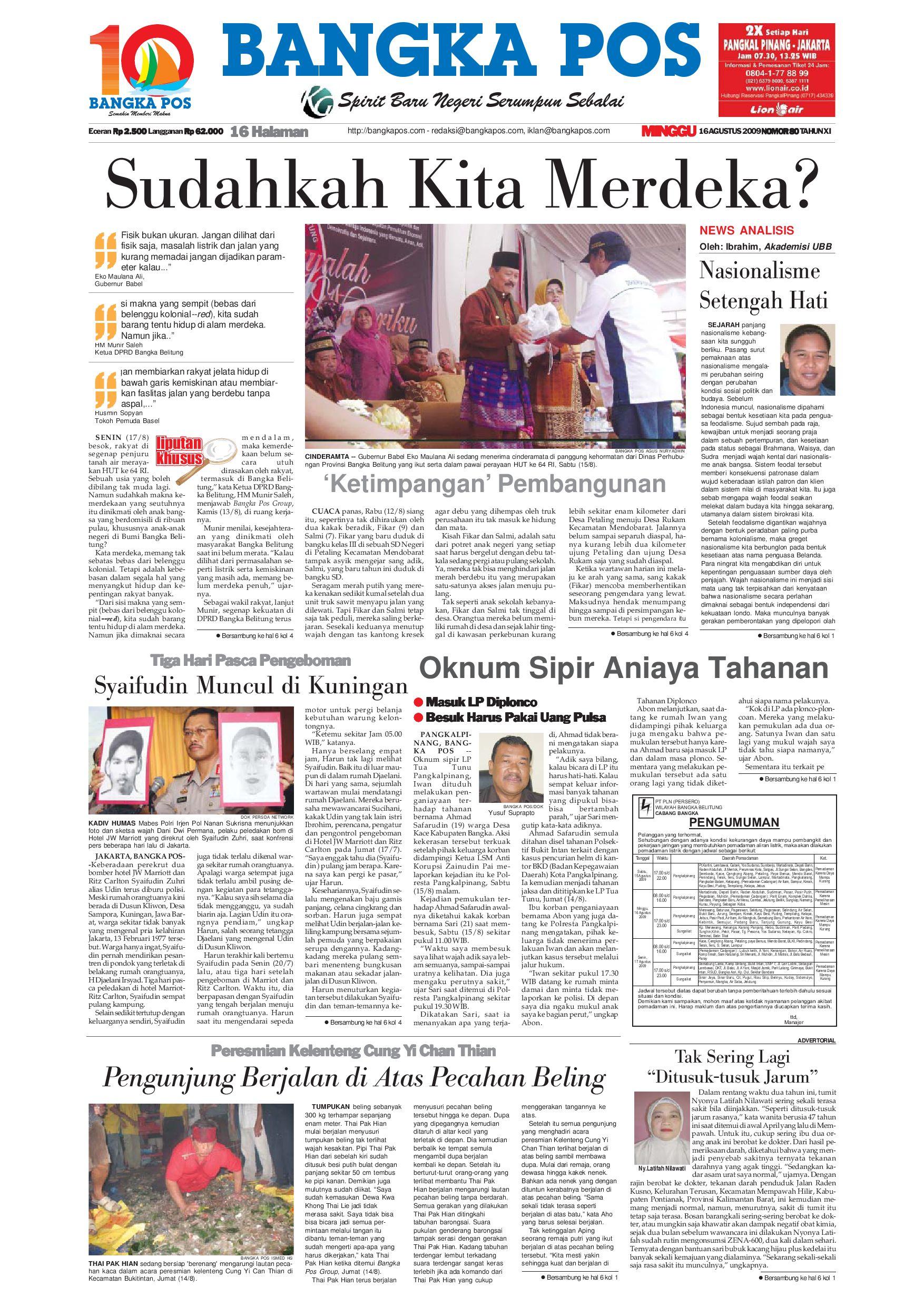 Harian Pagi Bangka Pos Edisi 16 Agustus 2009 By Issuu Produk Ukm Bumn Box Hantaran Pengantin Bio Art
