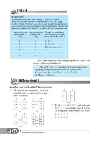 Kelas08matematika konsep dan aplikasinyadewi tri by s van untuk menentukan banyaknya korespondensi satu satu yang mungkin antara himpunan a dan b buatlah diagram diagram panah yang mungkin jika banyak ccuart Choice Image