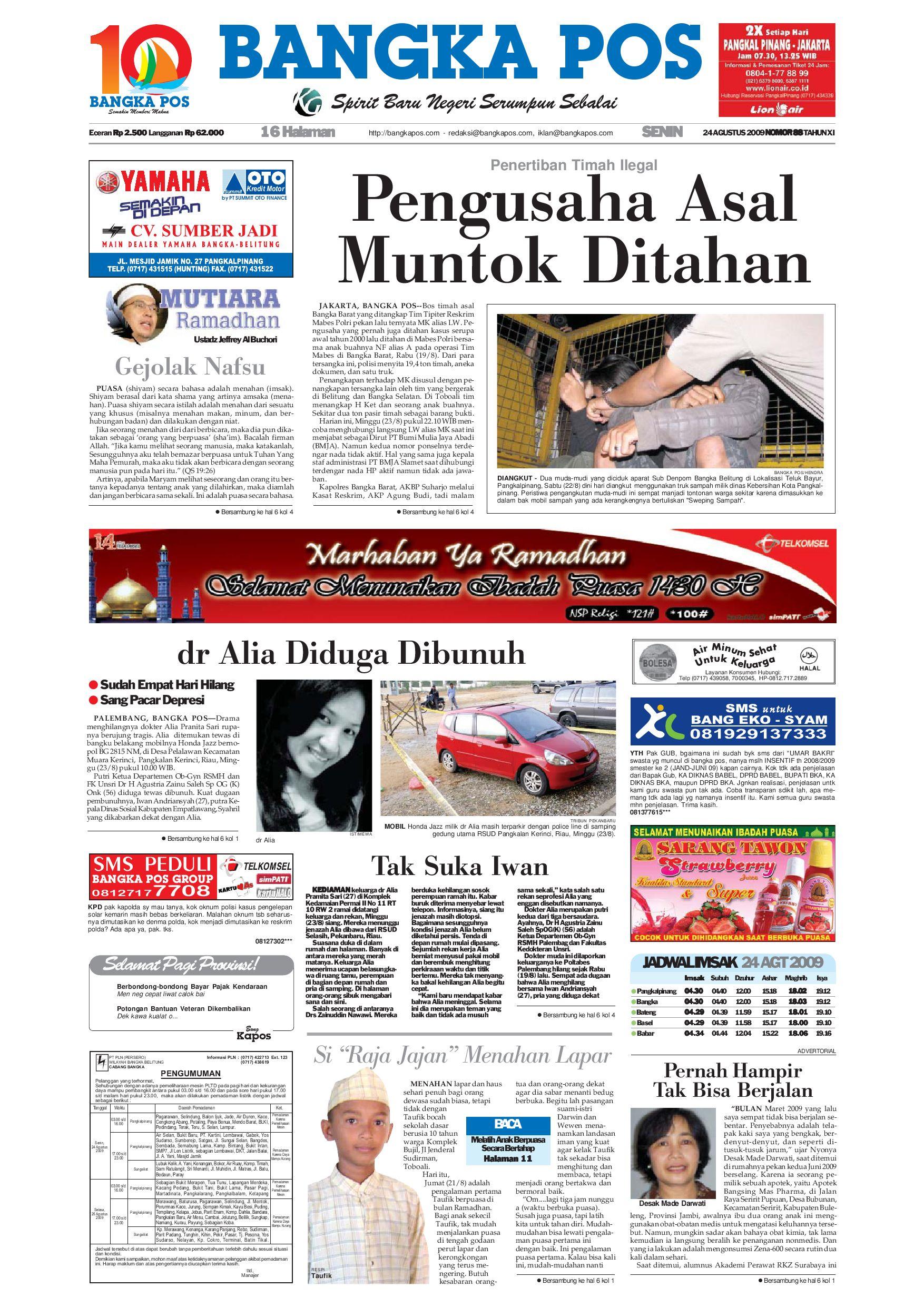 Harian Pagi Bangka Pos Edisi 24 Agustus 2009 by bangka pos - issuu d3bbadc44ef05