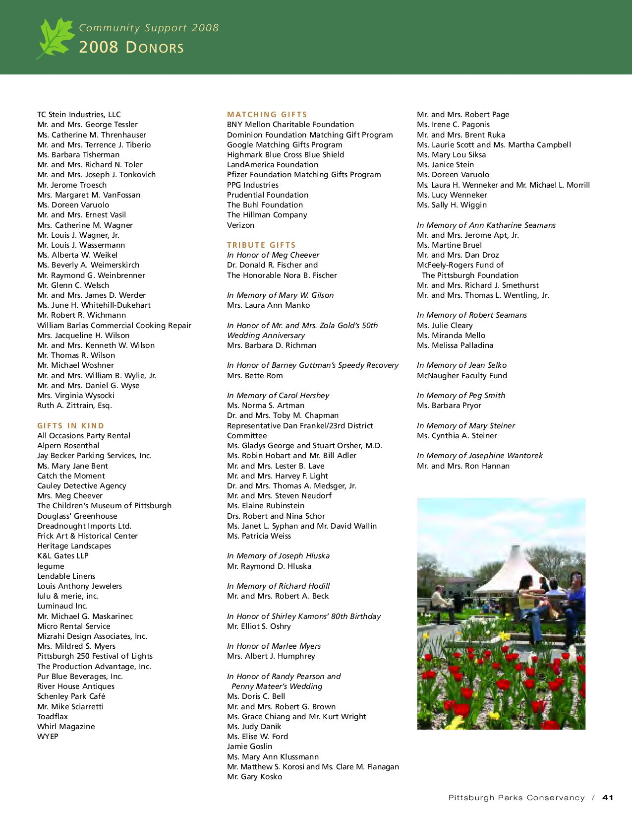 2008 Annual Report of the Pittsburgh Parks Conservancy