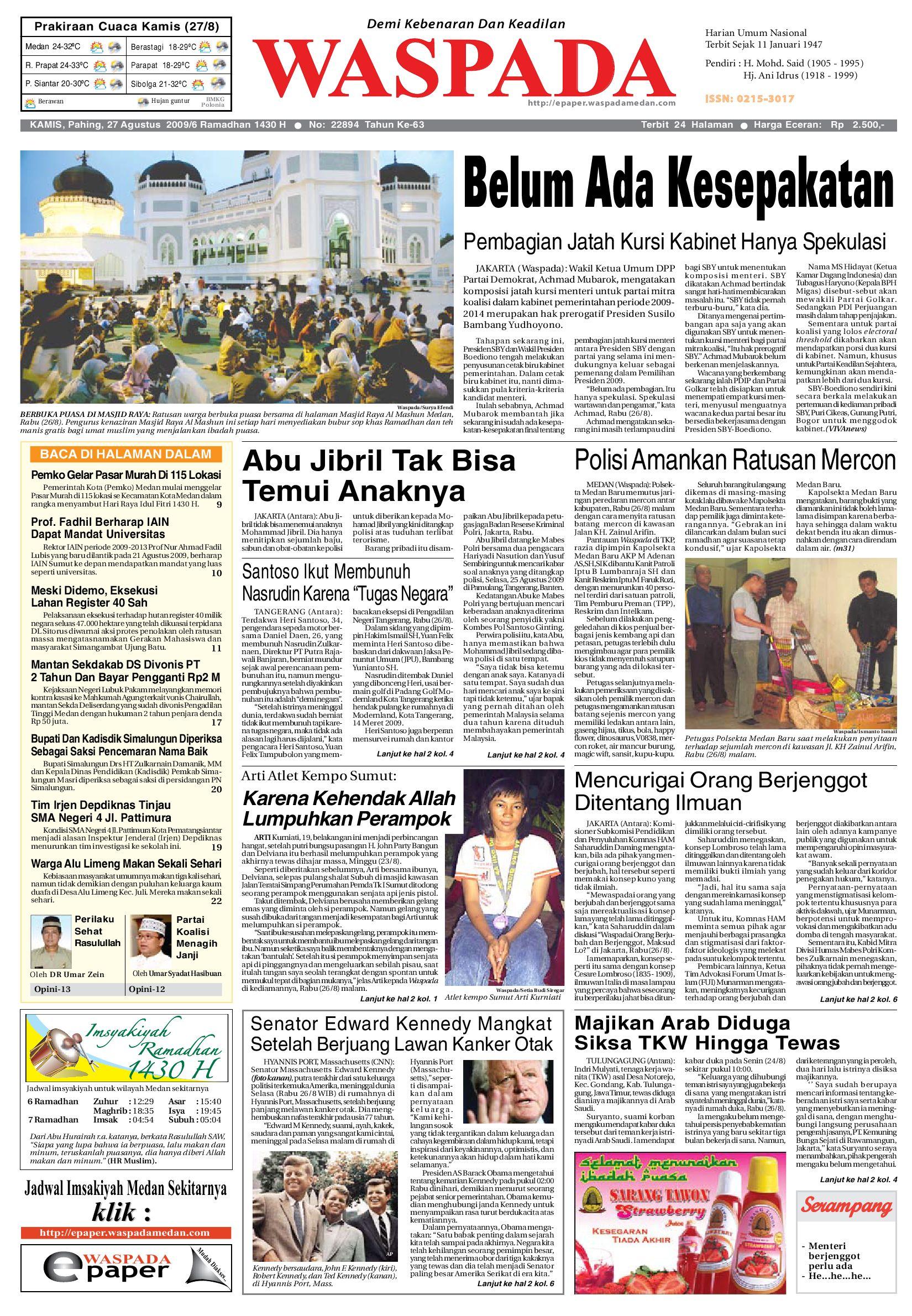 Waspada Kamis 27 Agustus 2009 By Harian Issuu Fcenter Lemari Pakaian Wd Hk 1802 Sh Jawa Tengah