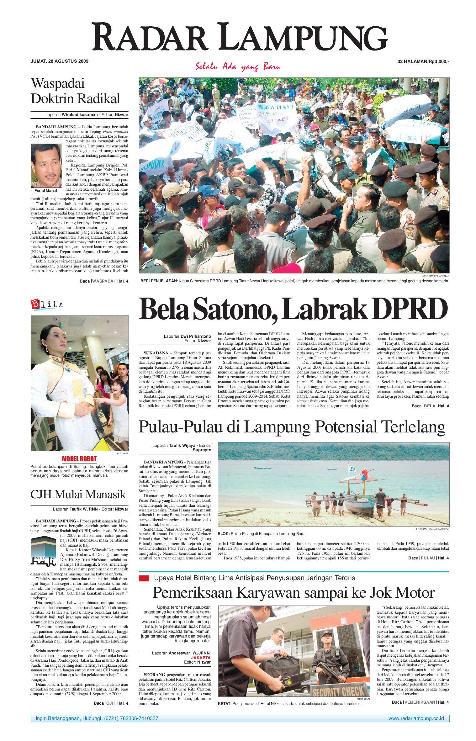 Radar Lampung Jumat 28 Agustus 2009 By Issuu Parcel Makanan Ampamp Keramik Pja 1608
