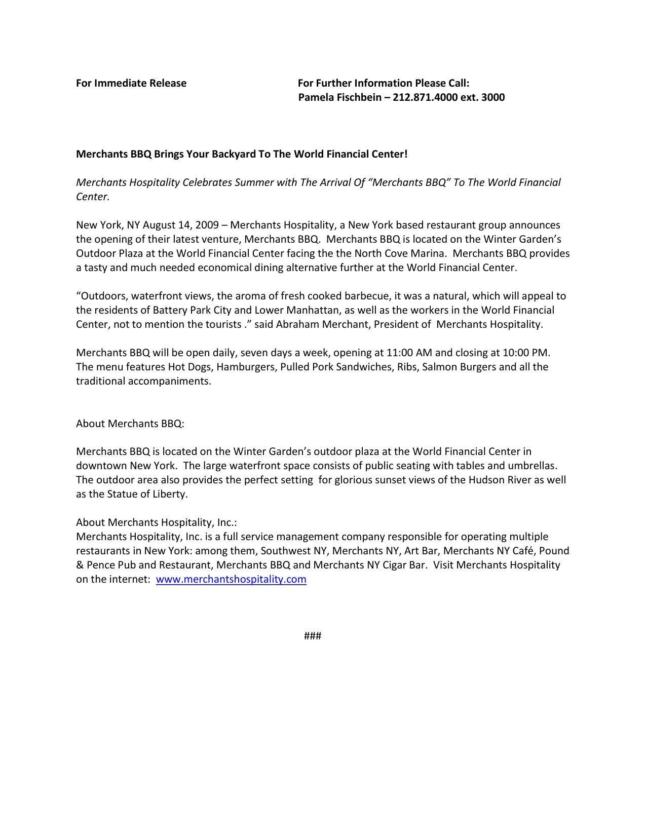 Merchants BBQ - Press Release by Pamela Fischbein - issuu