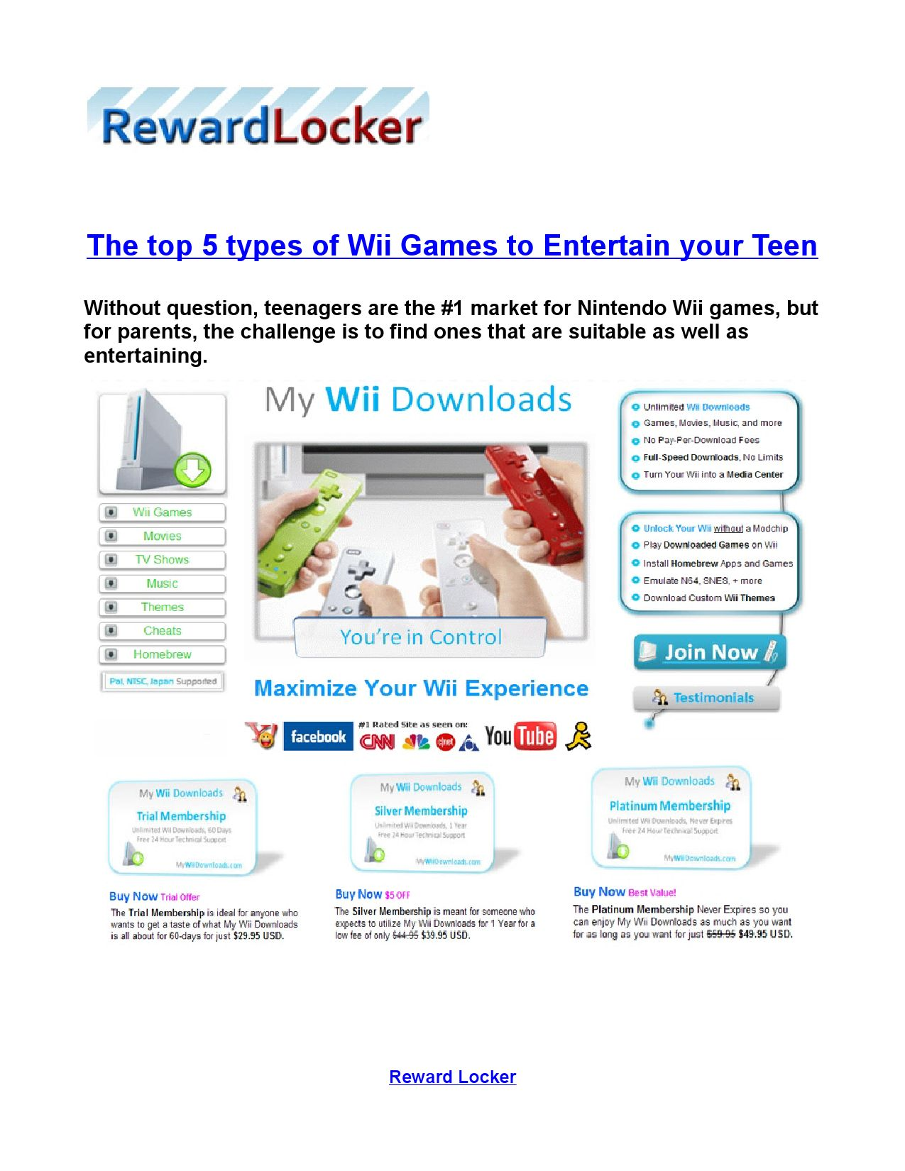 The top 5 types of Wii Games to Entertain your Teen by Matt
