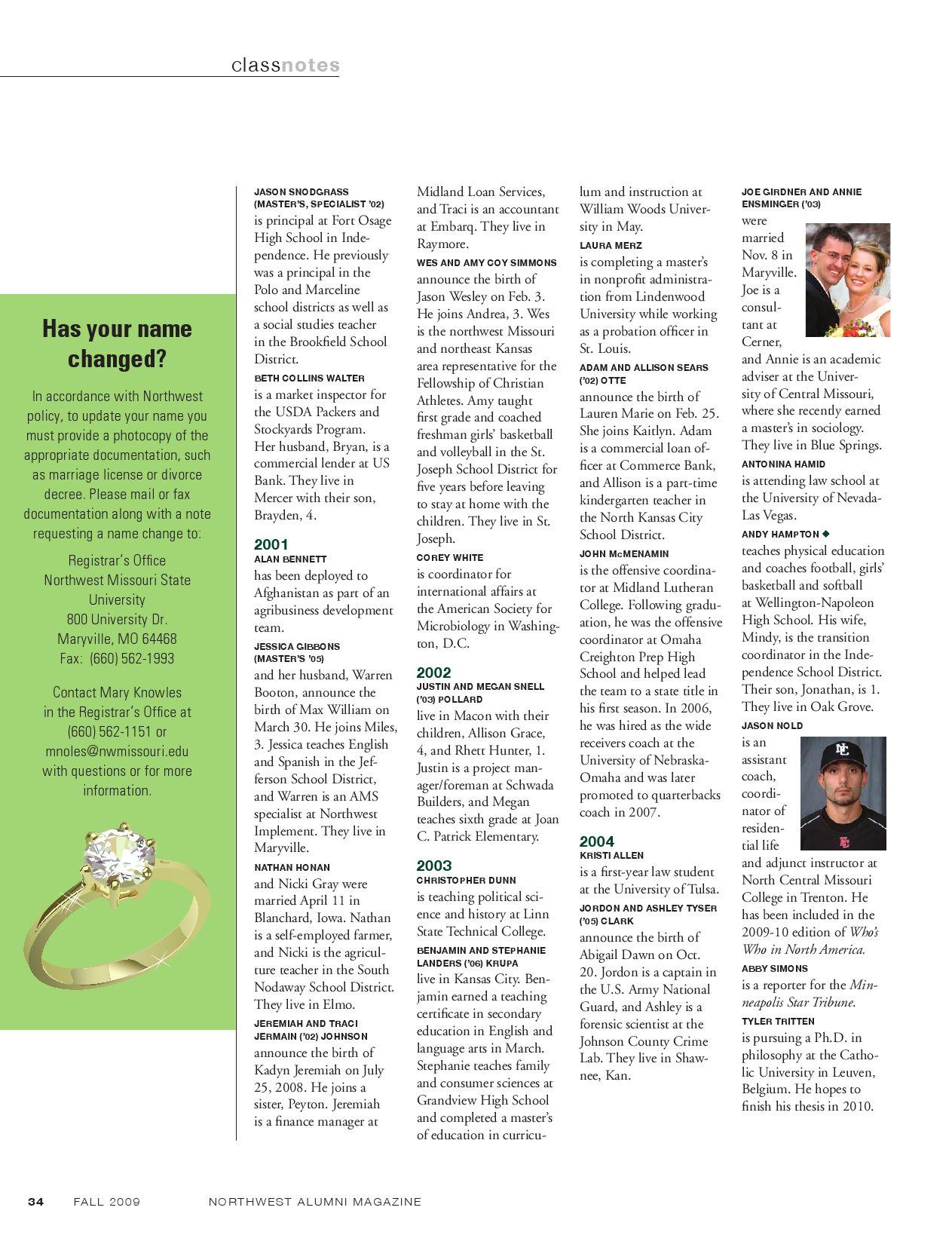 Northwest Missouri State University Alumni Magazine Fall 09 By