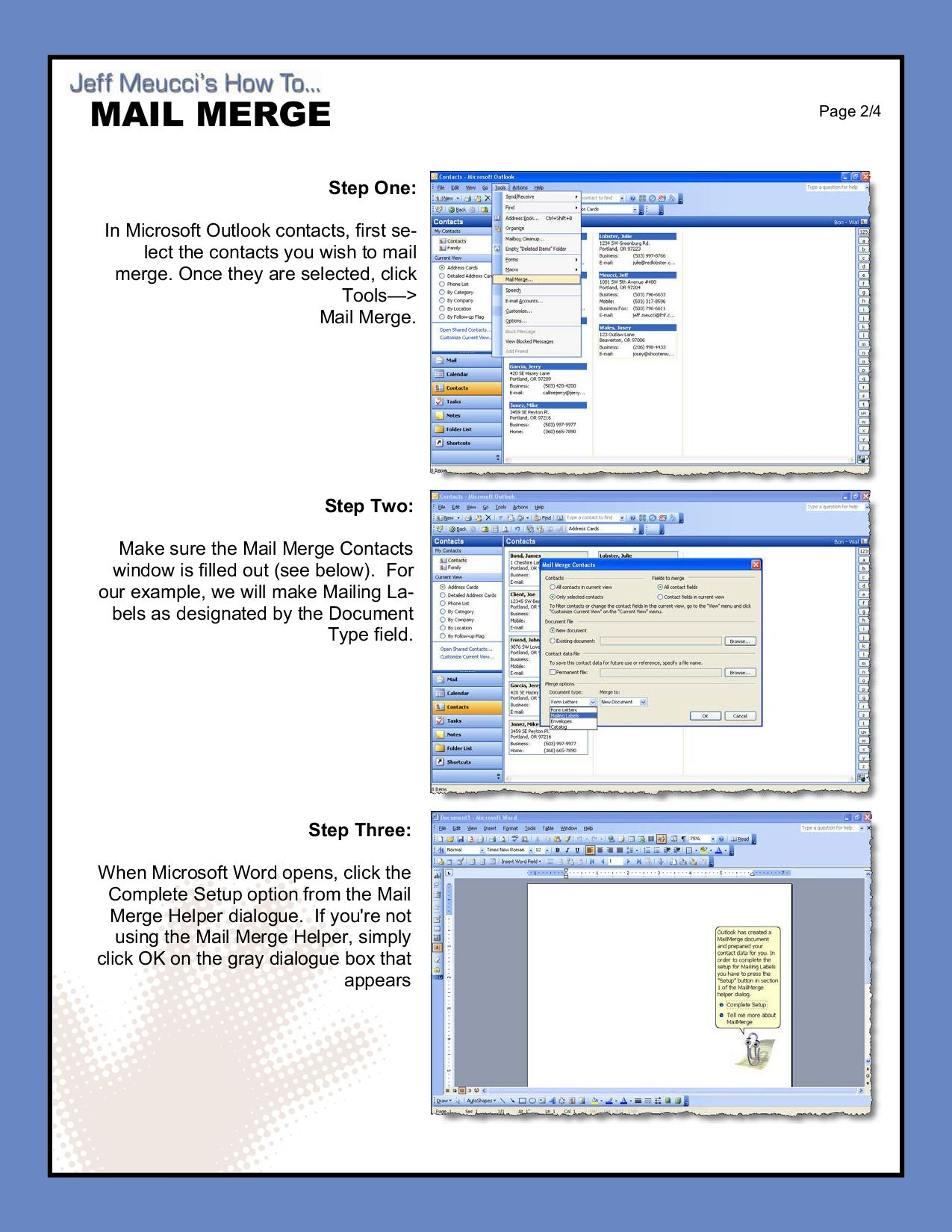 Outlook Mail Merge by Jeff Meucci - issuu