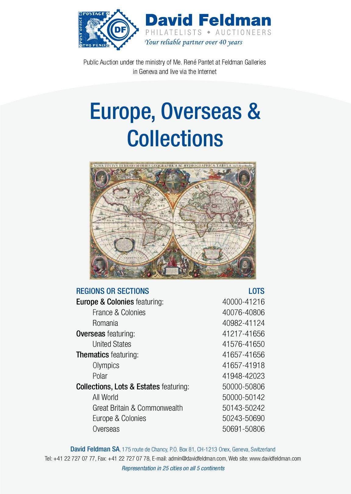 Feuille De Pierre Slate Skin stamps auction catalogue: europe, overseas and collections