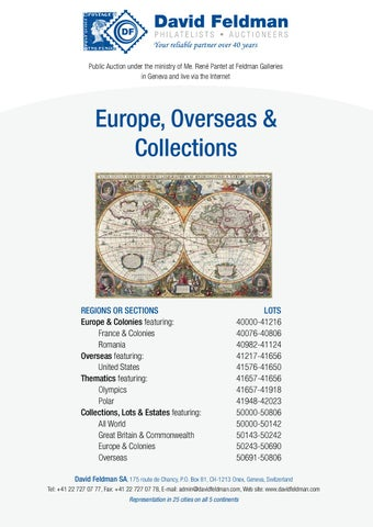 Stamps Auction Catalogue: Europe, Overseas And Collections By David ...