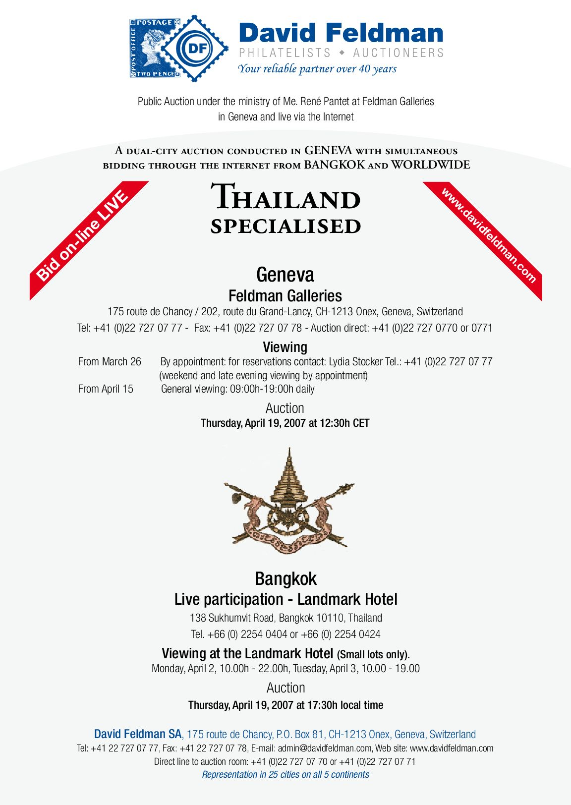 Stamps auction catalogue: Thailand by David Feldman - issuu