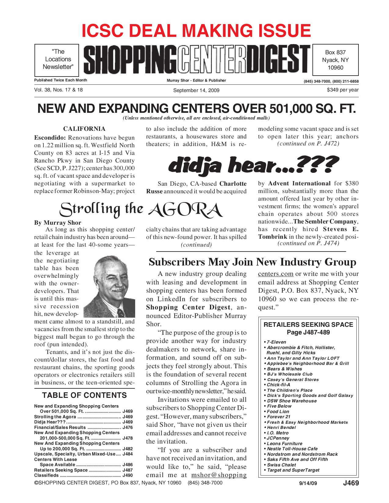 Shopping Center Digest 2009 ICSC Deal Making Issue by ...
