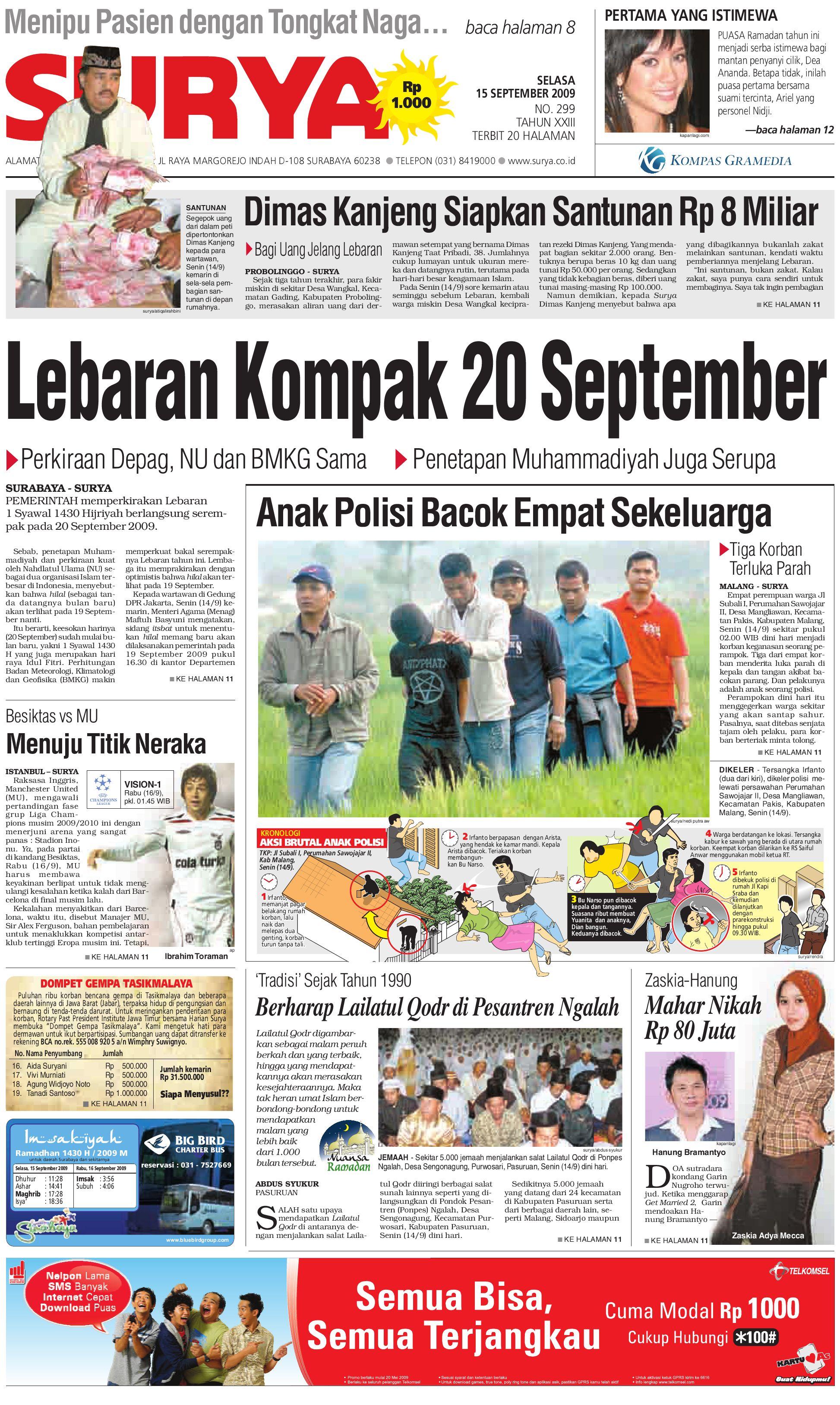 Surya Edisi Cetak 15 Sept 2009 By Harian Issuu Rejeki Anak Soleh 3 Voucher Carrefour Rp 200000