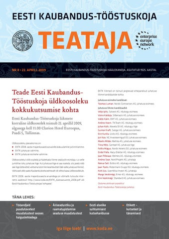02499bc0f30 Teataja 08_2009 by Eesti Kaubandus-Tööstuskoda / Estonian Chamber of ...