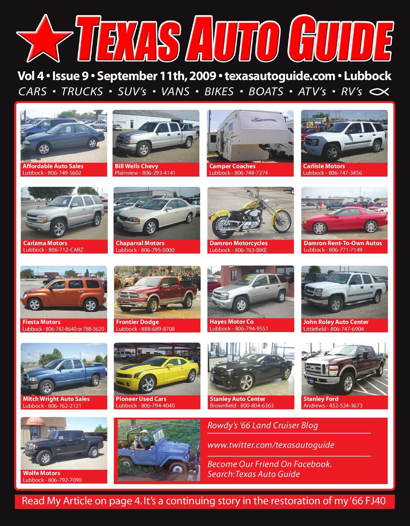 Texas auto guide lubbock 9 11 09 by texas auto guide issuu for Carizma motors lubbock tx