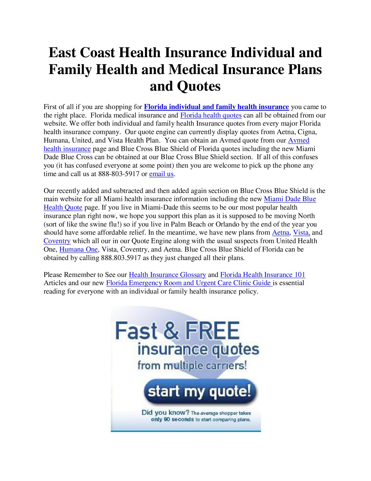 Medical Insurance Quotes Florida Health Insurance Brokereast Coast Health Insurance  Issuu