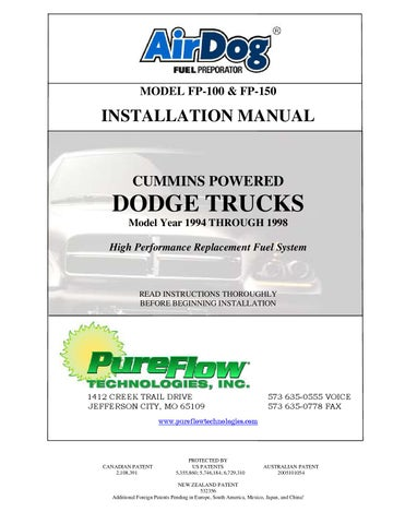 1994 1998 dodge cummins air dog install by diesel bombers issuu wiring diagram symbols chart model fp 100 & fp 150 installation manual