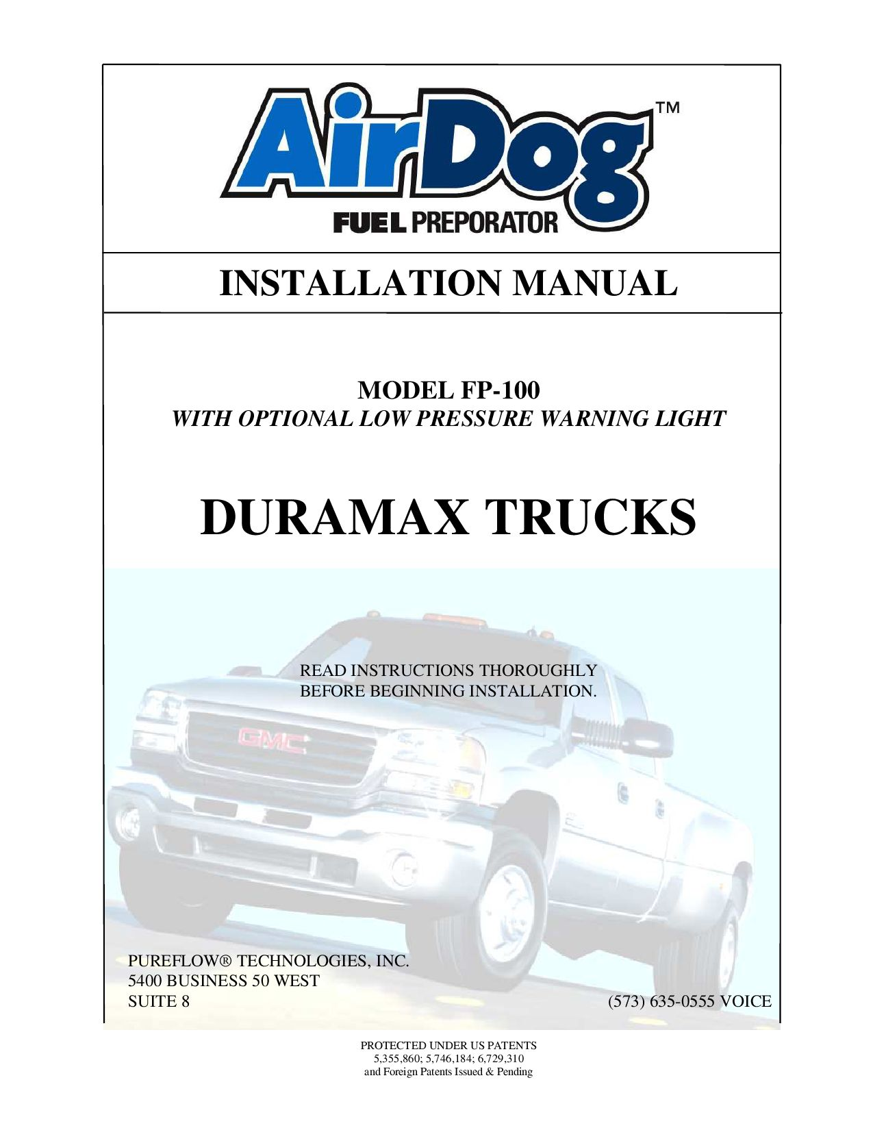 Duramax Diesel Truck Air Dog Fp 100 Install Manual By Bombers 01 Fuel Filter Housing Issuu