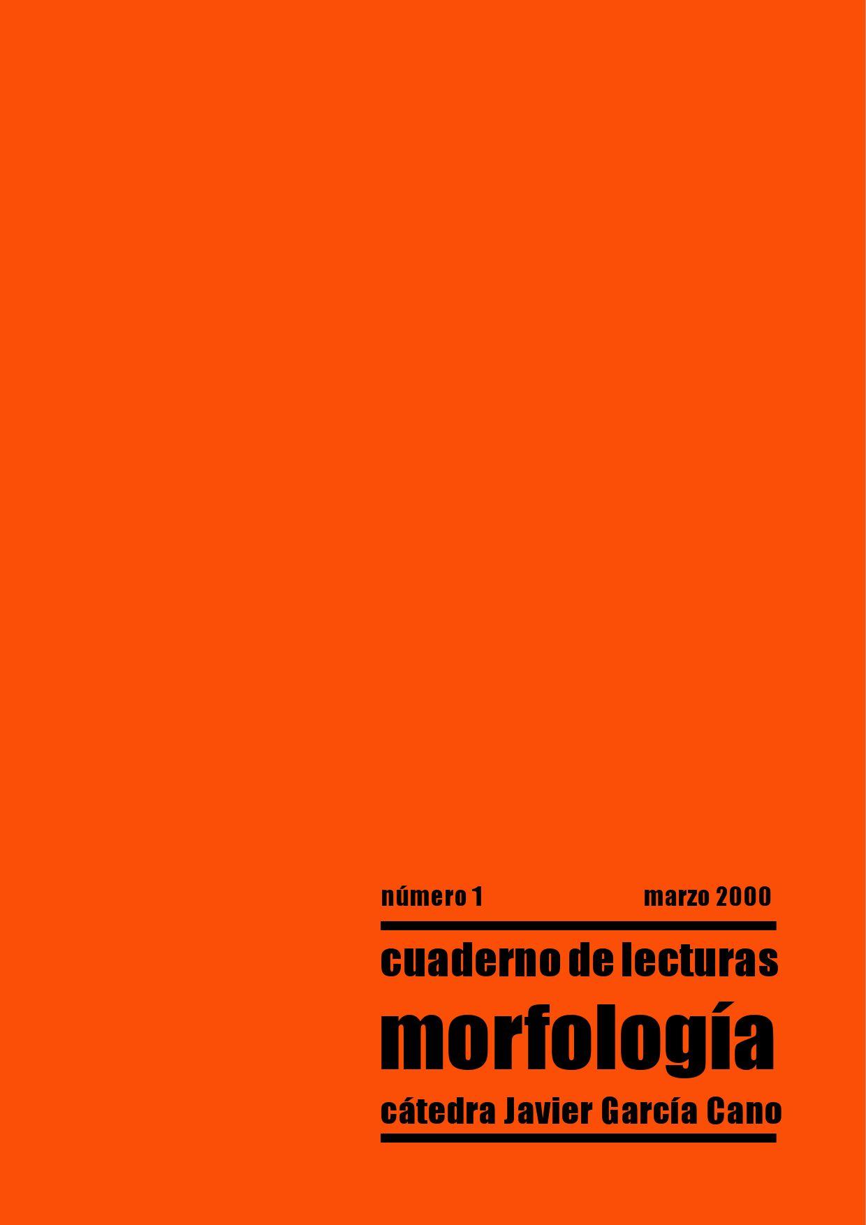Cuaderno De Lecturas Morfología N 1 By Roberto Lombardi