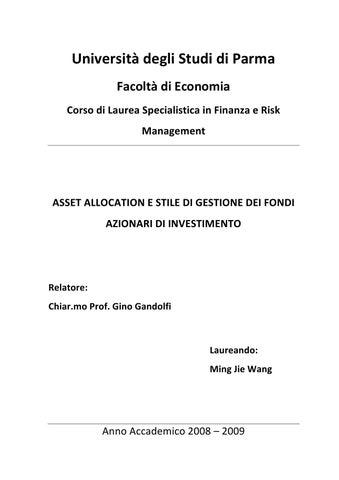 180e064483 Università degli Studi di Parma Facoltà di Economia Corso di Laurea  Specialistica in Finanza e Risk Management