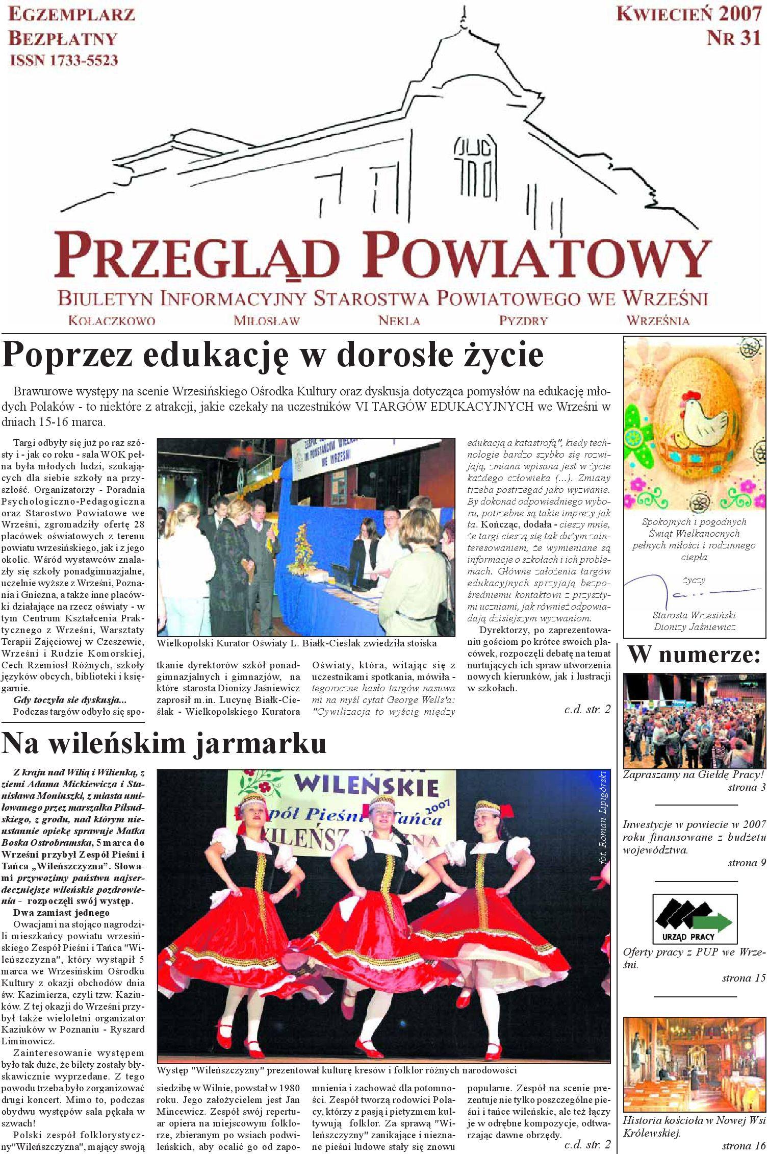 Przegląd Powiatowy Nr 31 Kwiecień 2007 By Starostwo