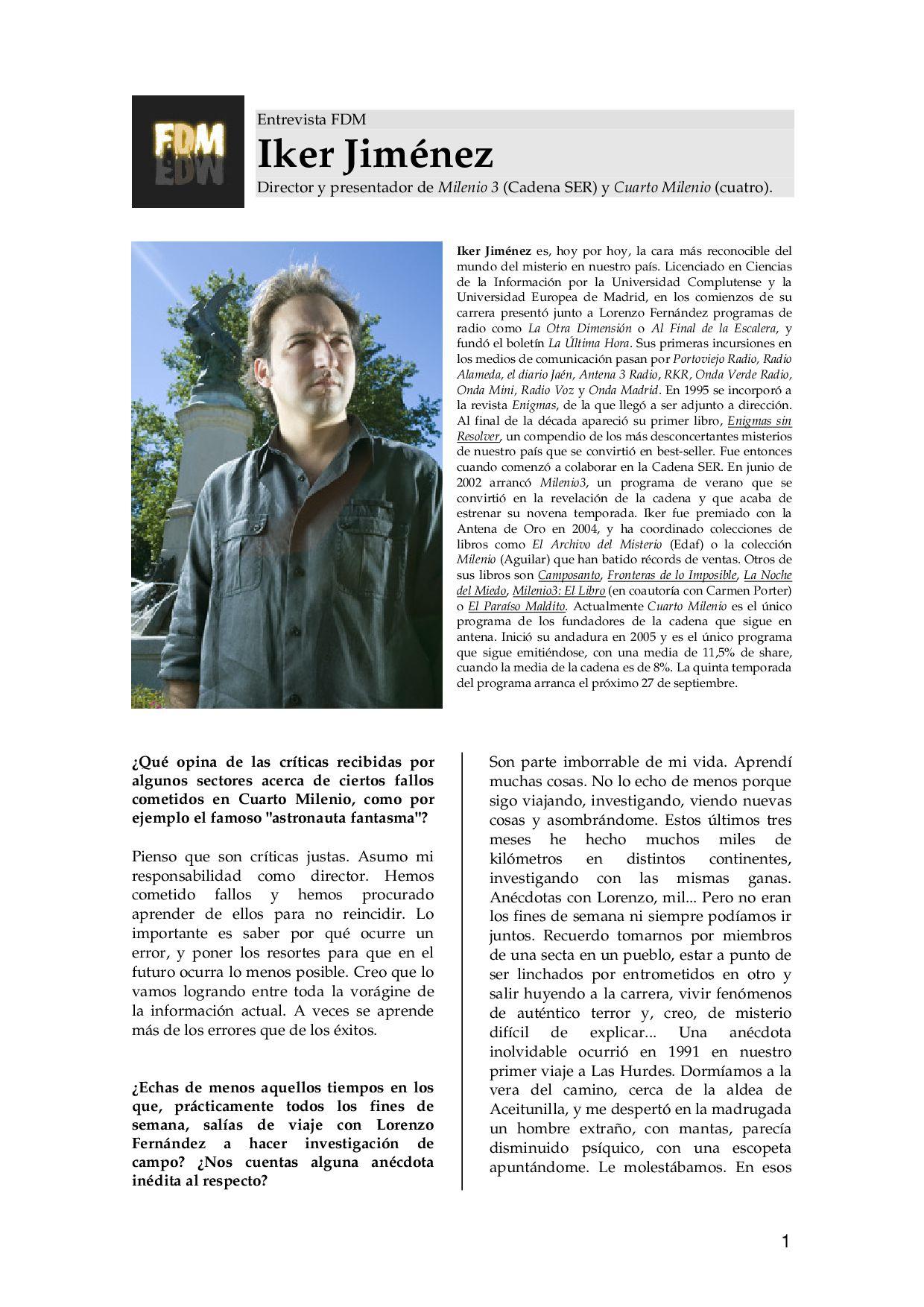 Entrevista Iker Jimenez by Diego Marañón - issuu